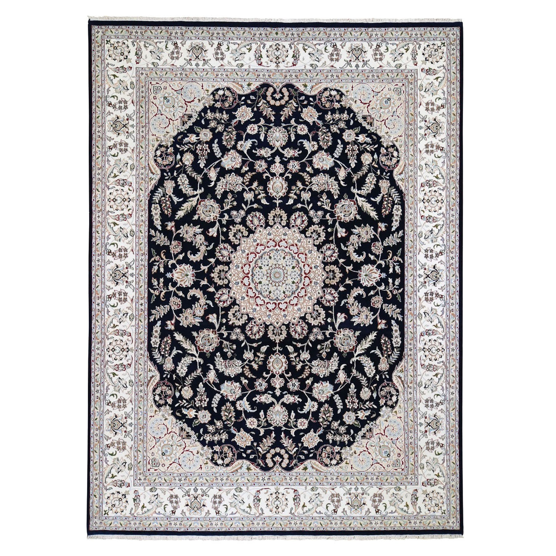 9'X12' Navy Blue Nain Wool And Silk 250 Kpsi Hand Knotted Oriental Rug moad879c