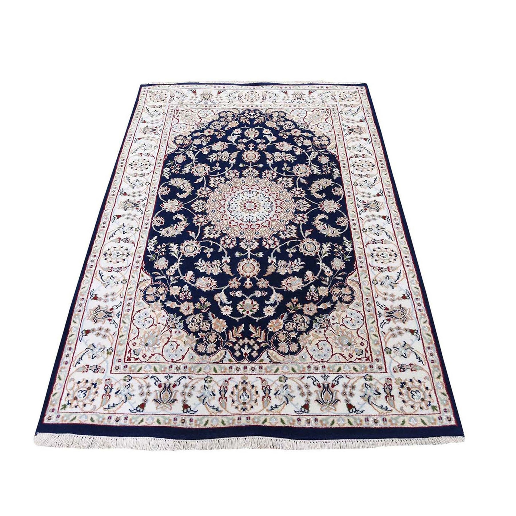 """4'9""""X6'9"""" Navy Blue Nain Wool And Silk 250 Kpsi Hand Knotted Oriental Rug moad879d"""