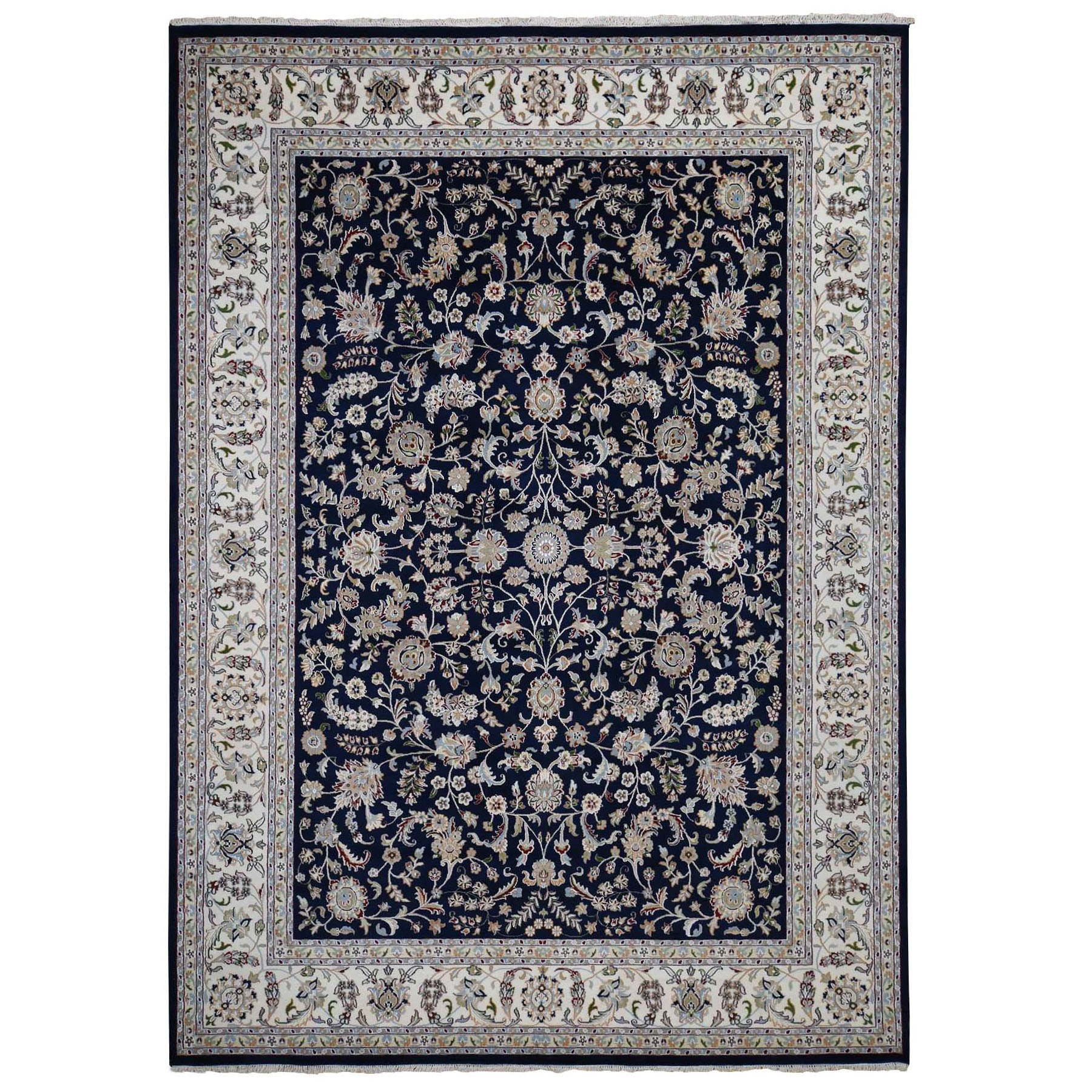 """9'9""""X14' Navy Blue Wool And Silk 250 Kpsi All Over Design Nain Hand Knotted Oriental Rug moad879e"""