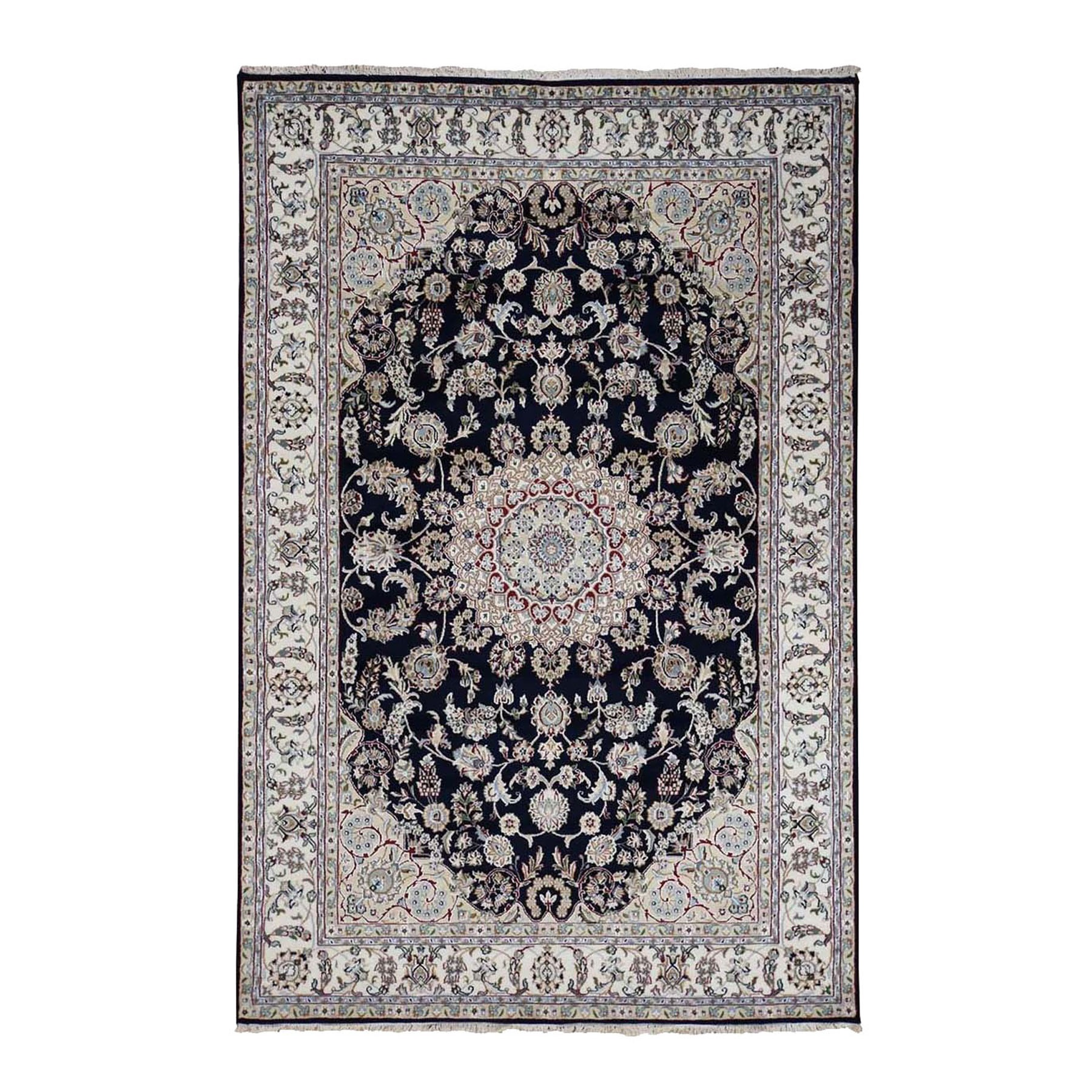 """6'X9'1"""" Navy Blue Nain Wool And Silk 250 Kpsi Hand Knotted Oriental Rug moad8796"""