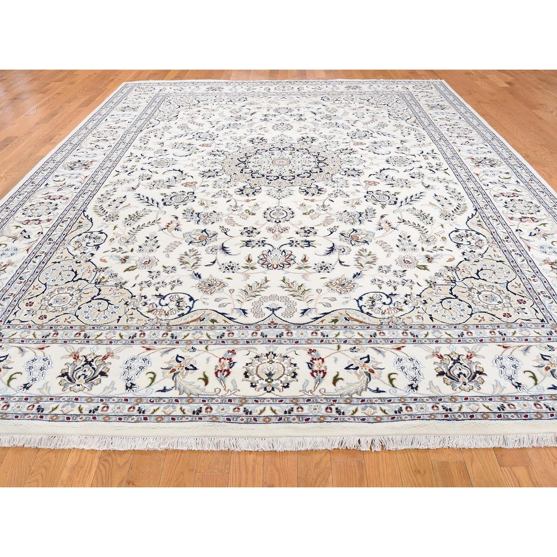 "8'10""x12'1"" Ivory Wool and Silk 250 KPSI Nain Hand Knotted Oriental Rug"
