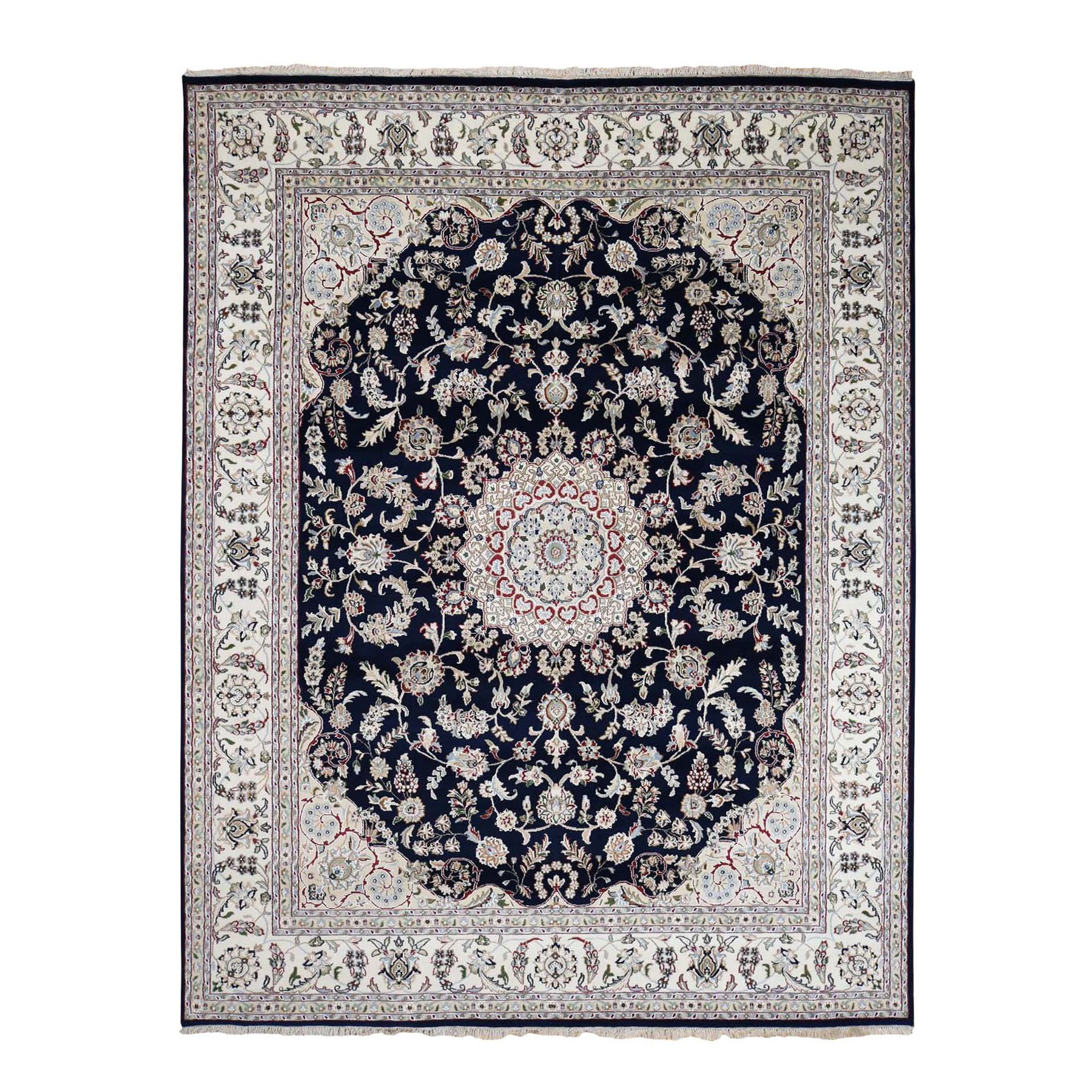 """8'X10'1"""" Navy Blue Wool And Silk 250 Kpsi  Nain Hand Knotted Oriental Rug moad8798"""
