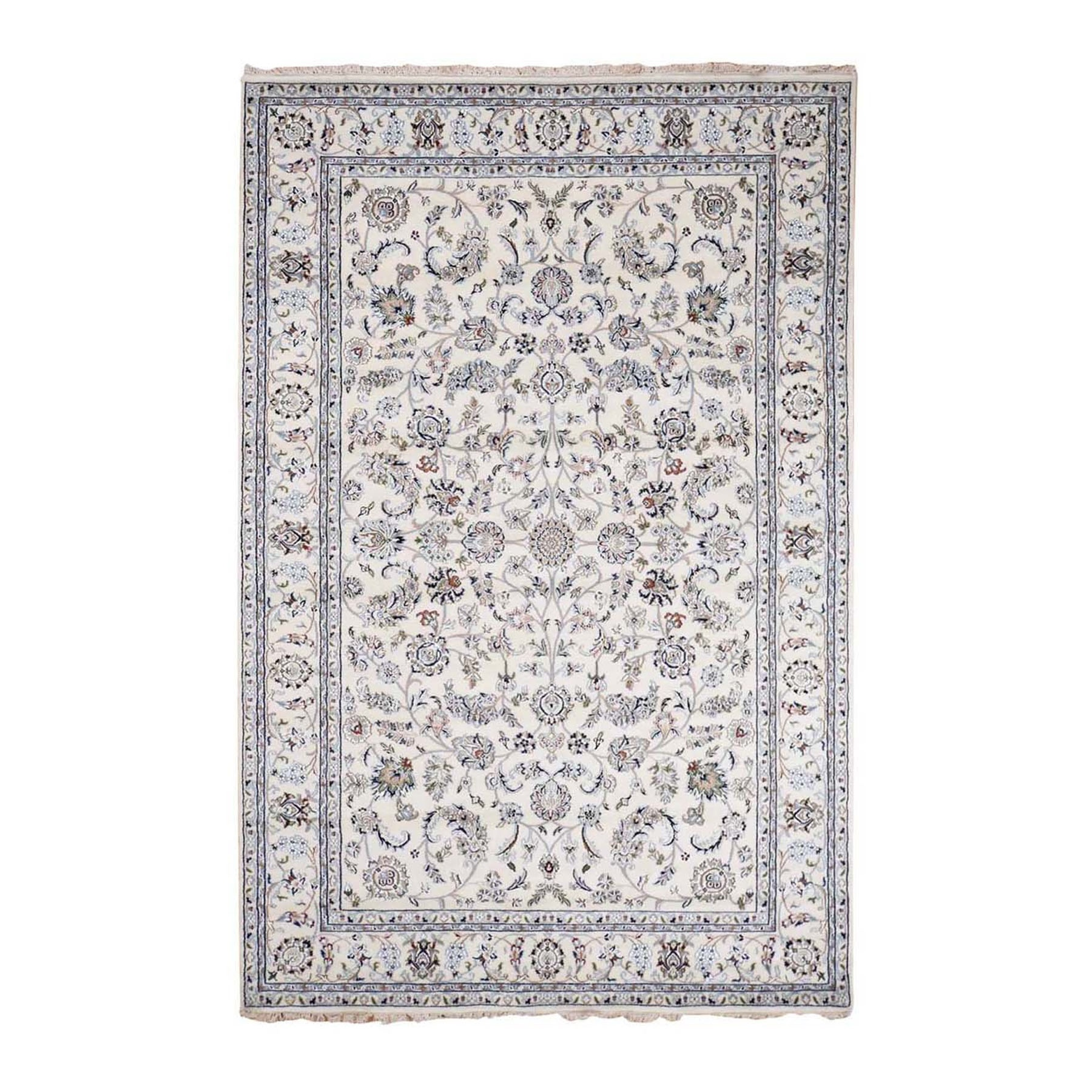 """6'1""""X9' Ivory Nain Wool And Silk All Over Design 250 Kpsi Hand Knotted Oriental Rug moad8800"""