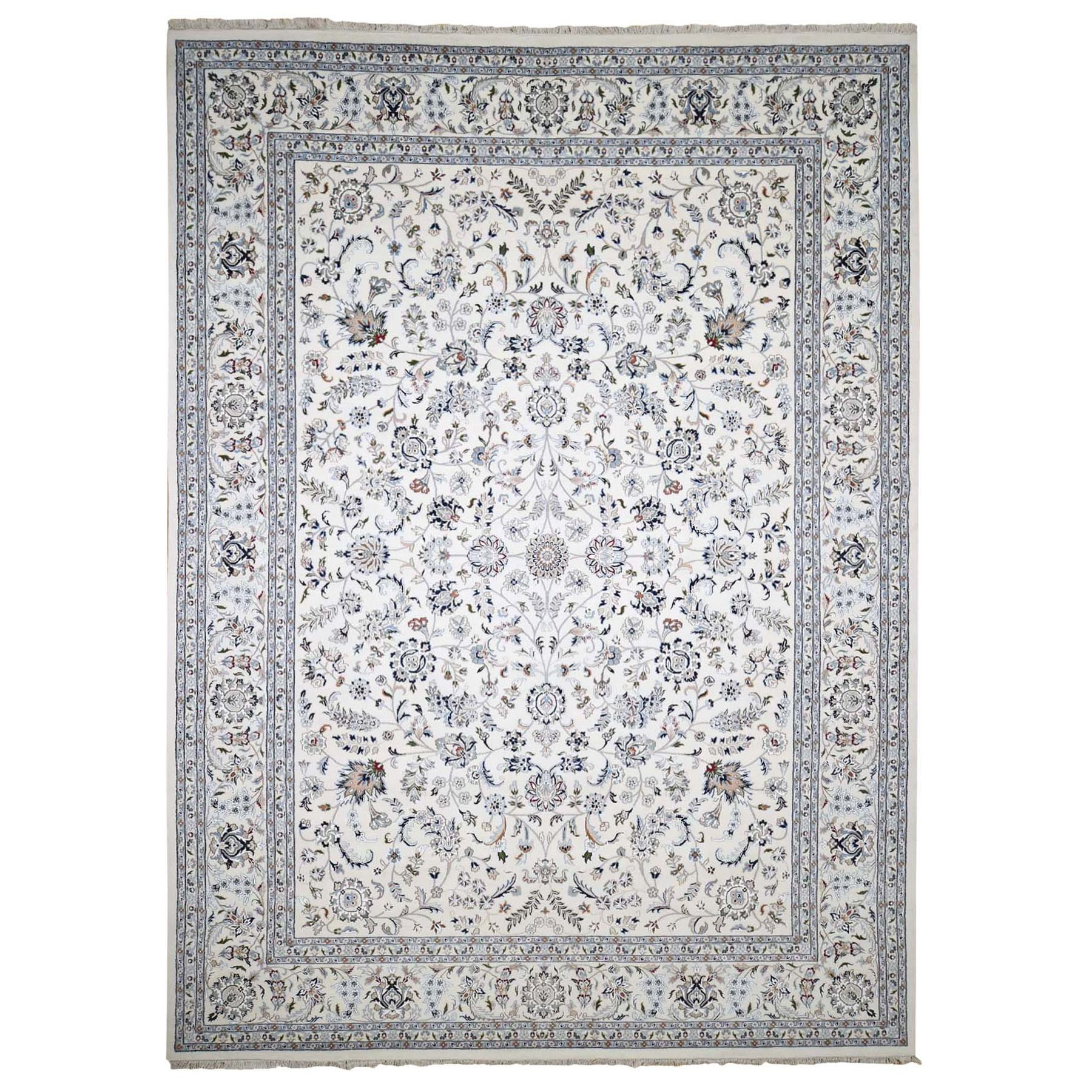10'x14' Ivory Wool and Silk 250 KPSI All Over Design Nain Hand-Knotted Oriental Rug 48801