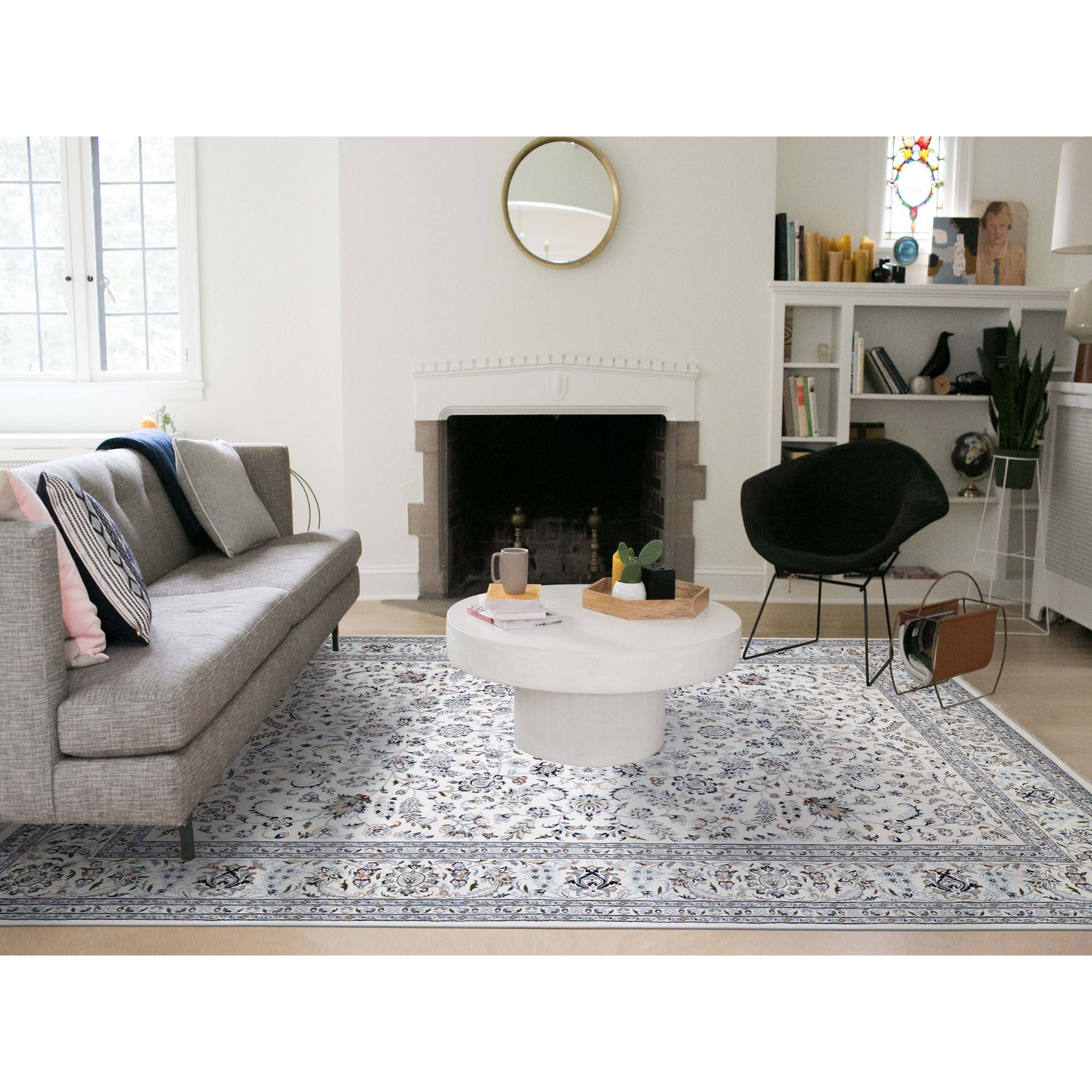 10'x14' Ivory Wool and Silk 250 KPSI All Over Design Nain Hand-Knotted Oriental Rug