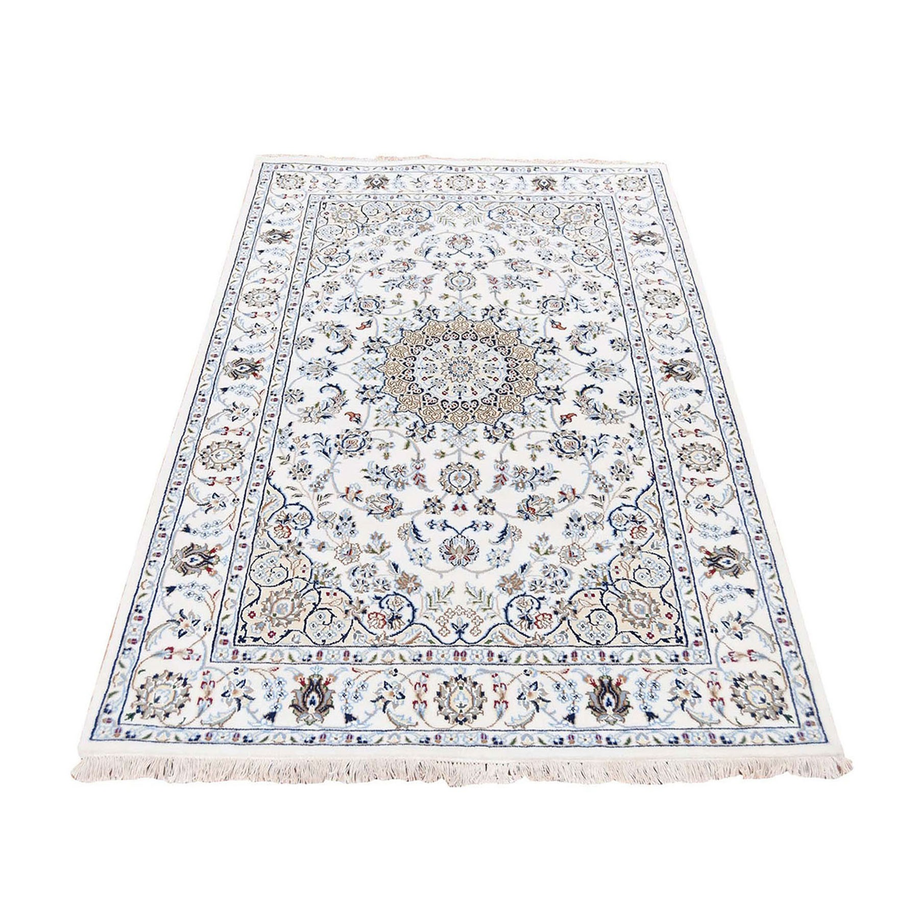 """4'10""""X6'10"""" Ivory Nain Wool And Silk 250 Kpsi Hand Knotted Oriental Rug moad880b"""