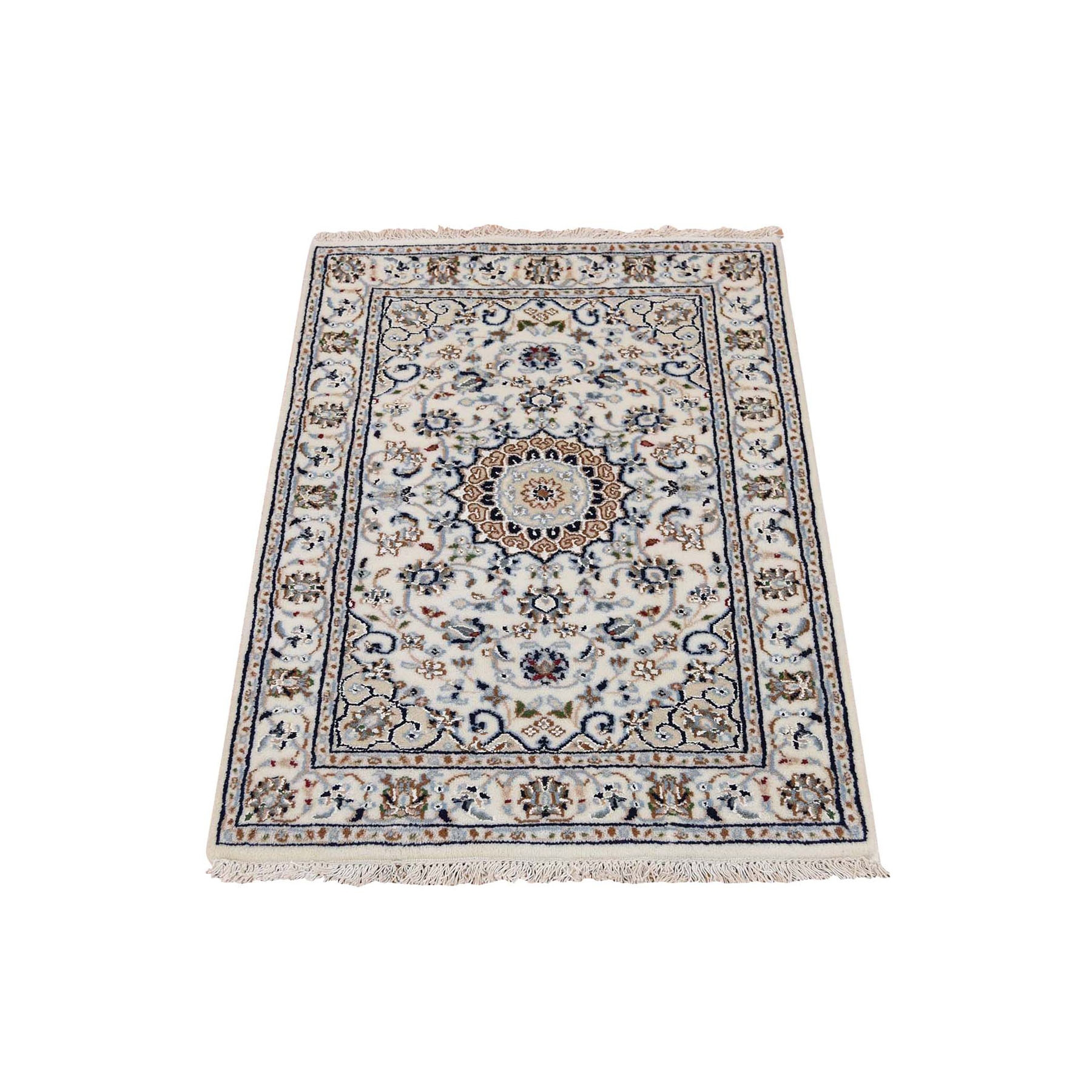 """2'X3'1"""" Ivory Nain Wool And Silk 250 Kpsi Hand Knotted Oriental Rug moad88aa"""
