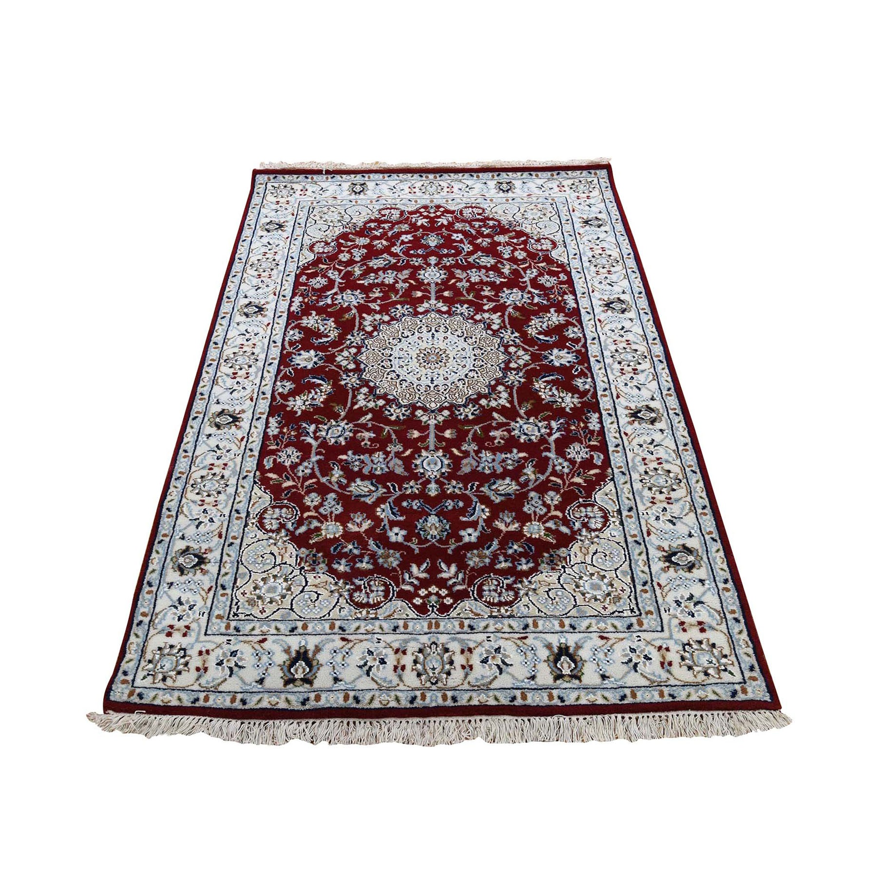 "3'2""x5'4"" Red Nain Wool And Silk 250 KPSI Hand Knotted Oriental Rug"
