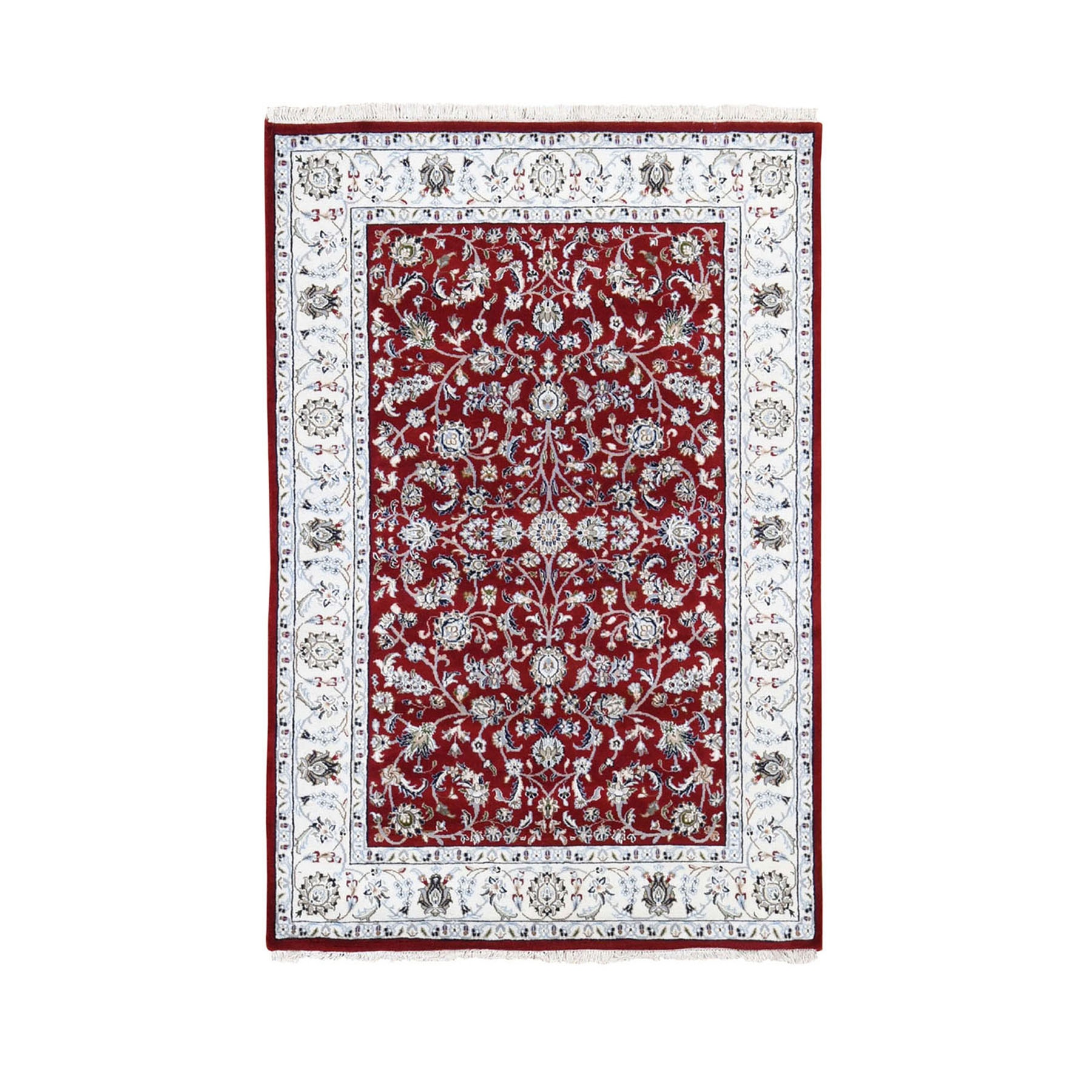 "4'x6'2"" Red Nain Wool And Silk All Over Design 250 KPSI Hand Knotted Oriental Rug"