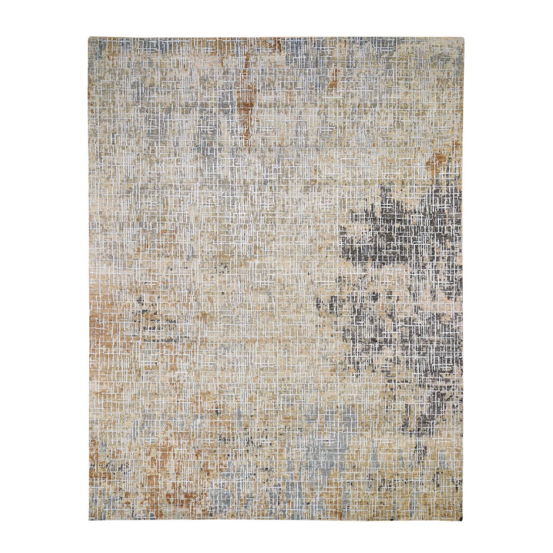 "8'X10'2""  Beige Abstract Design Wool And Silk Tight Knot Hand Knotted Oriental Rug moad88be"