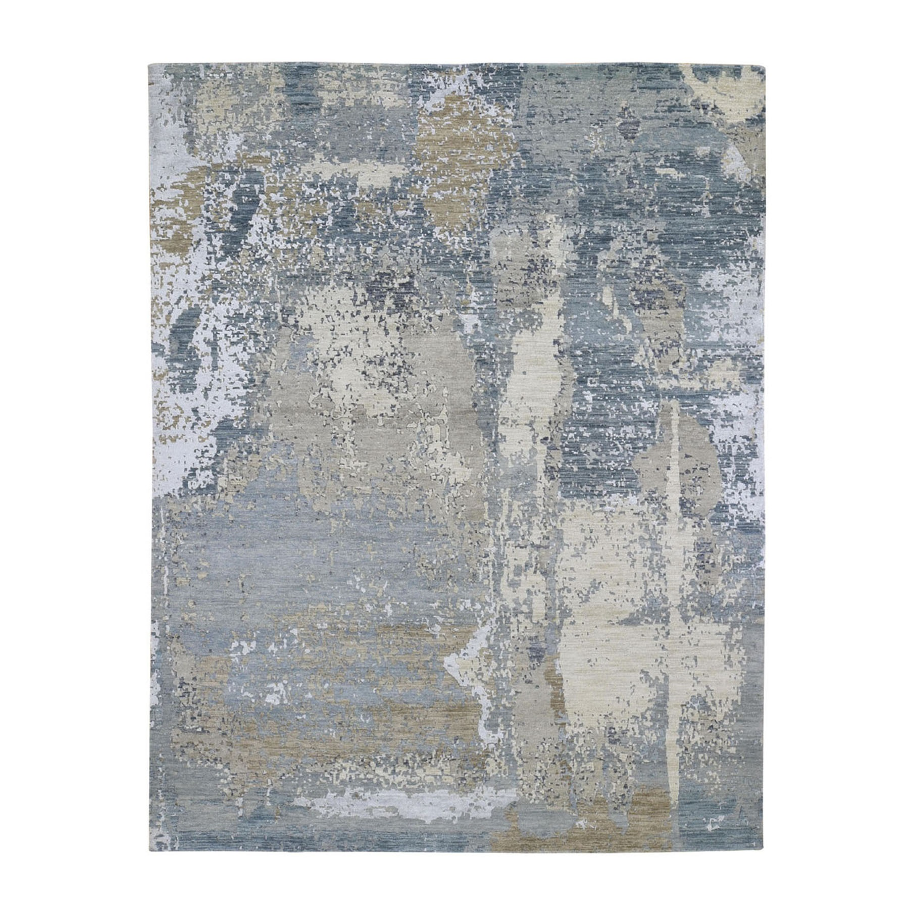 """8'X10'4"""" Gray Abstract Design Wool And Silk Denser Weave Hand Knotted Modern Rug moad88b6"""