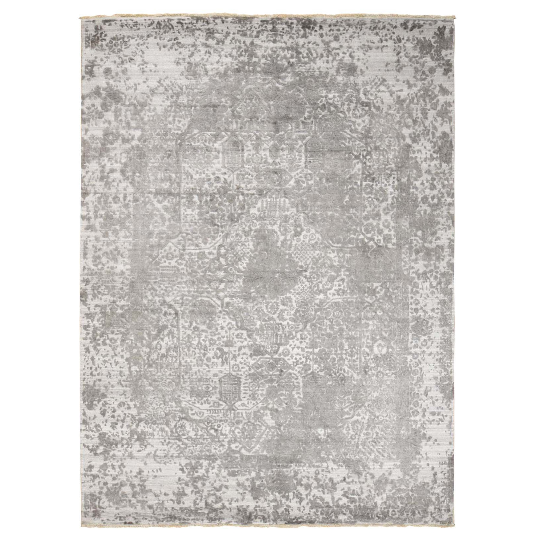 "9'x12'1""  Gray Broken Persian Design Wool And Pure Silk Hand Knotted Oriental Rug"