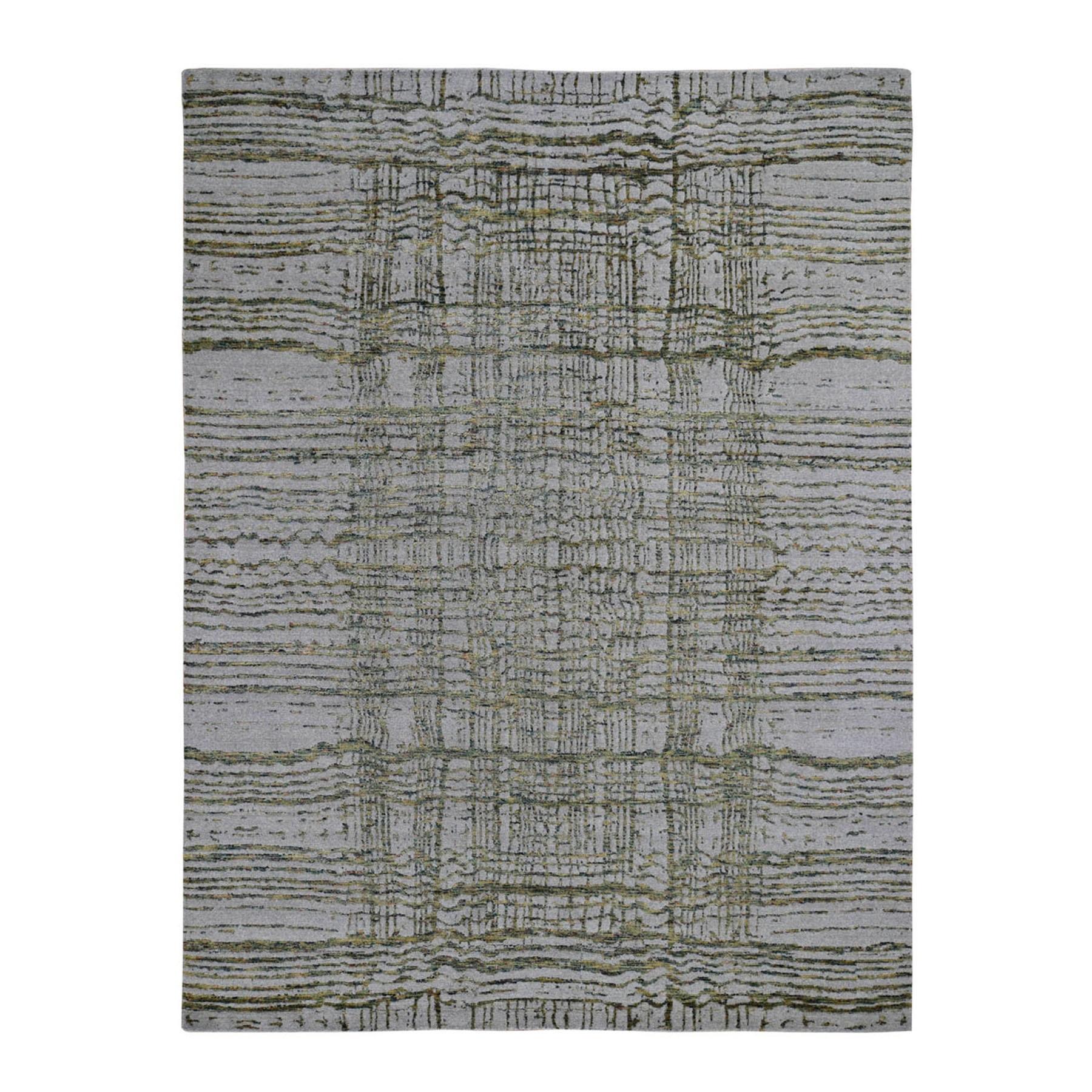 "7'10""x9'9"" Gray Fine jacquard Hand-Loomed Modern Wool And Silk Oriental Rug"