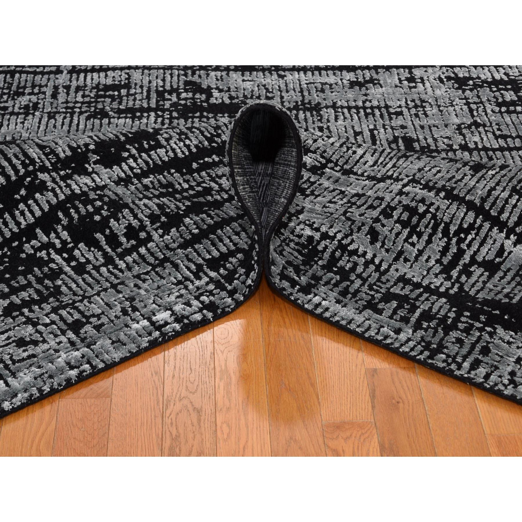8-10 x12-1  Black Fine jacquard Hand-Loomed Modern Wool And Silk Oriental Rug