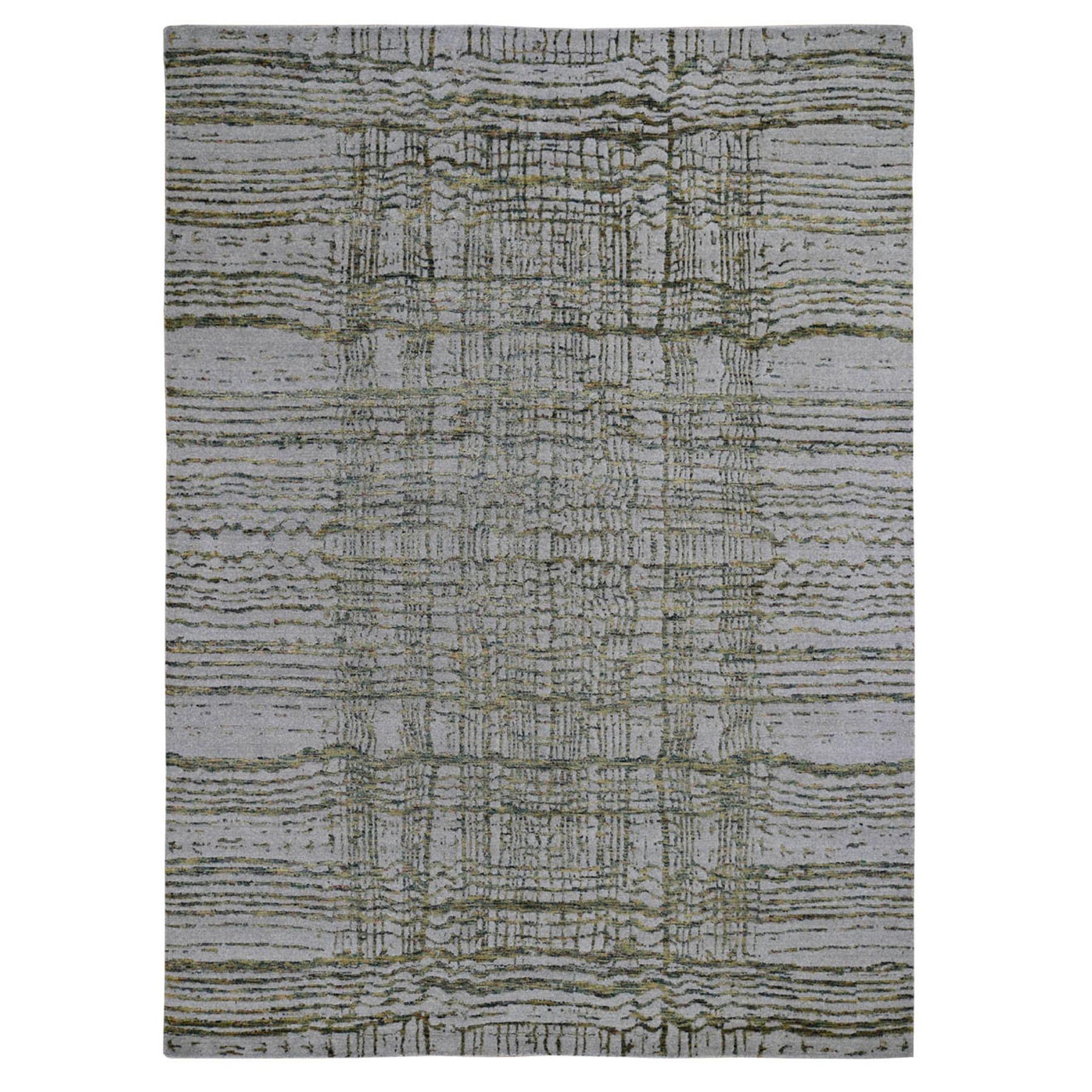 "9'2""x11'8"" Gray Fine jacquard Hand-Loomed Modern Wool And Silk Oriental Rug"