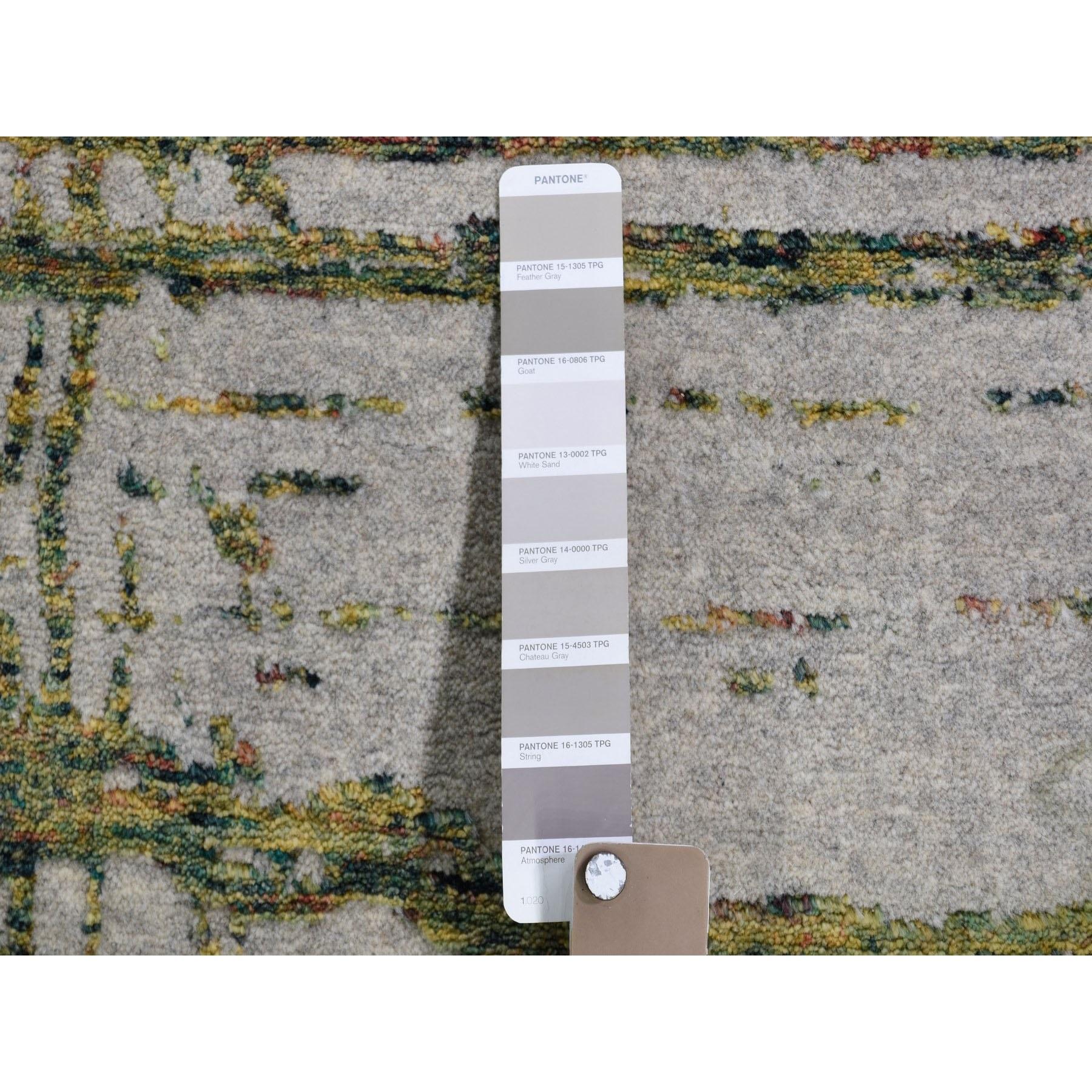 9-2 x11-8  Gray Fine jacquard Hand-Loomed Modern Wool And Silk Oriental Rug
