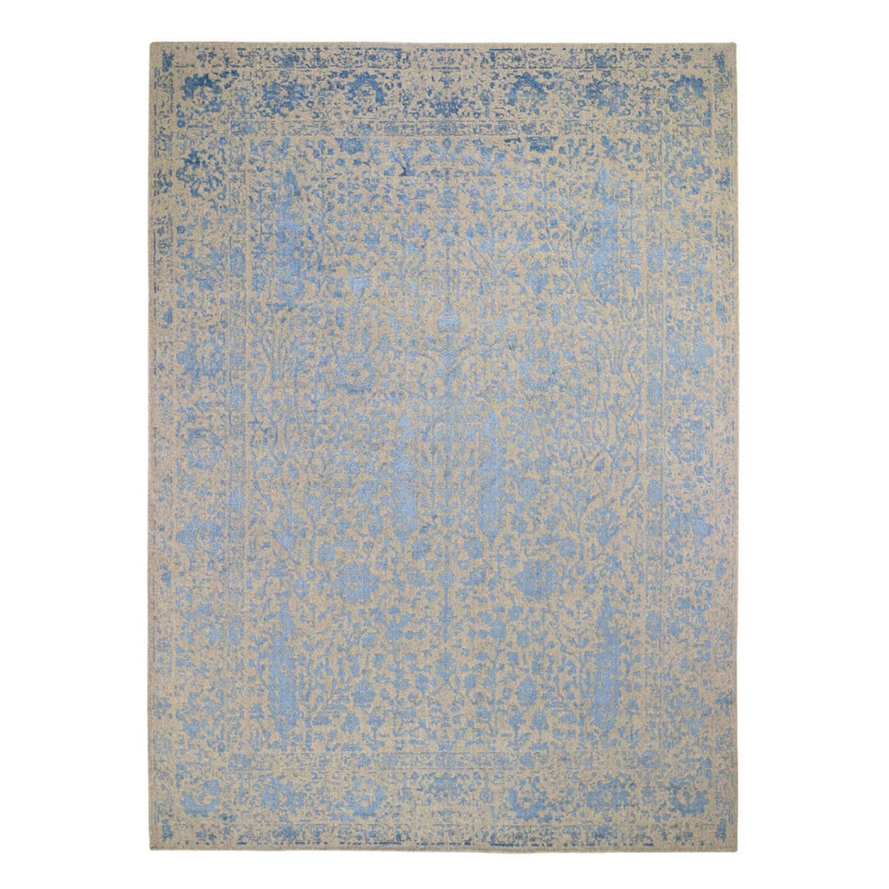 """8'10""""X12'3"""" Gray Broken Cypress Tree Design Wool And Silk Thick Hand Loomed Oriental Rug moad88cb"""