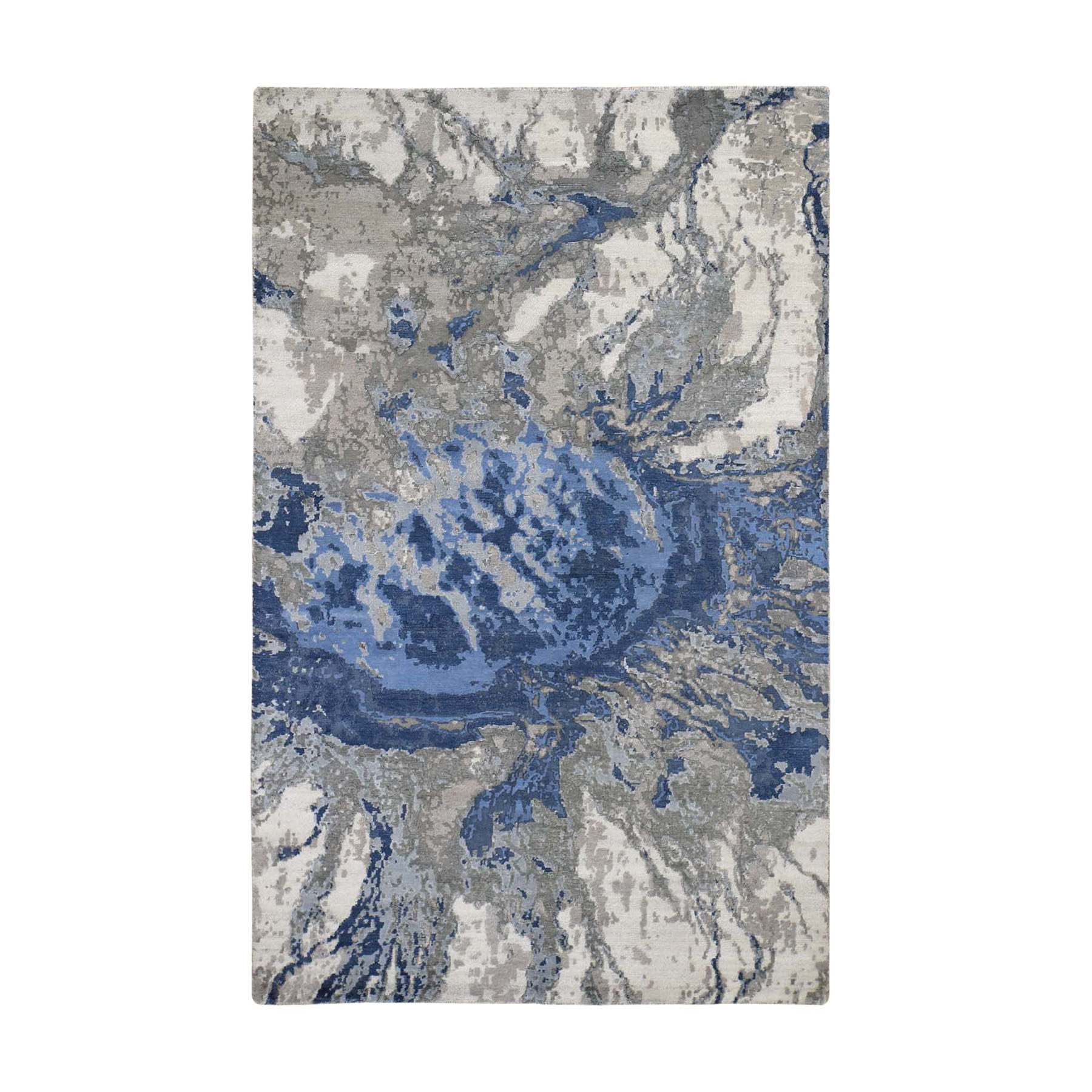 6'X9' Abstract Design Wool And Silk Hi-Low Pile Hand Knotted Oriental Rug moad88cc