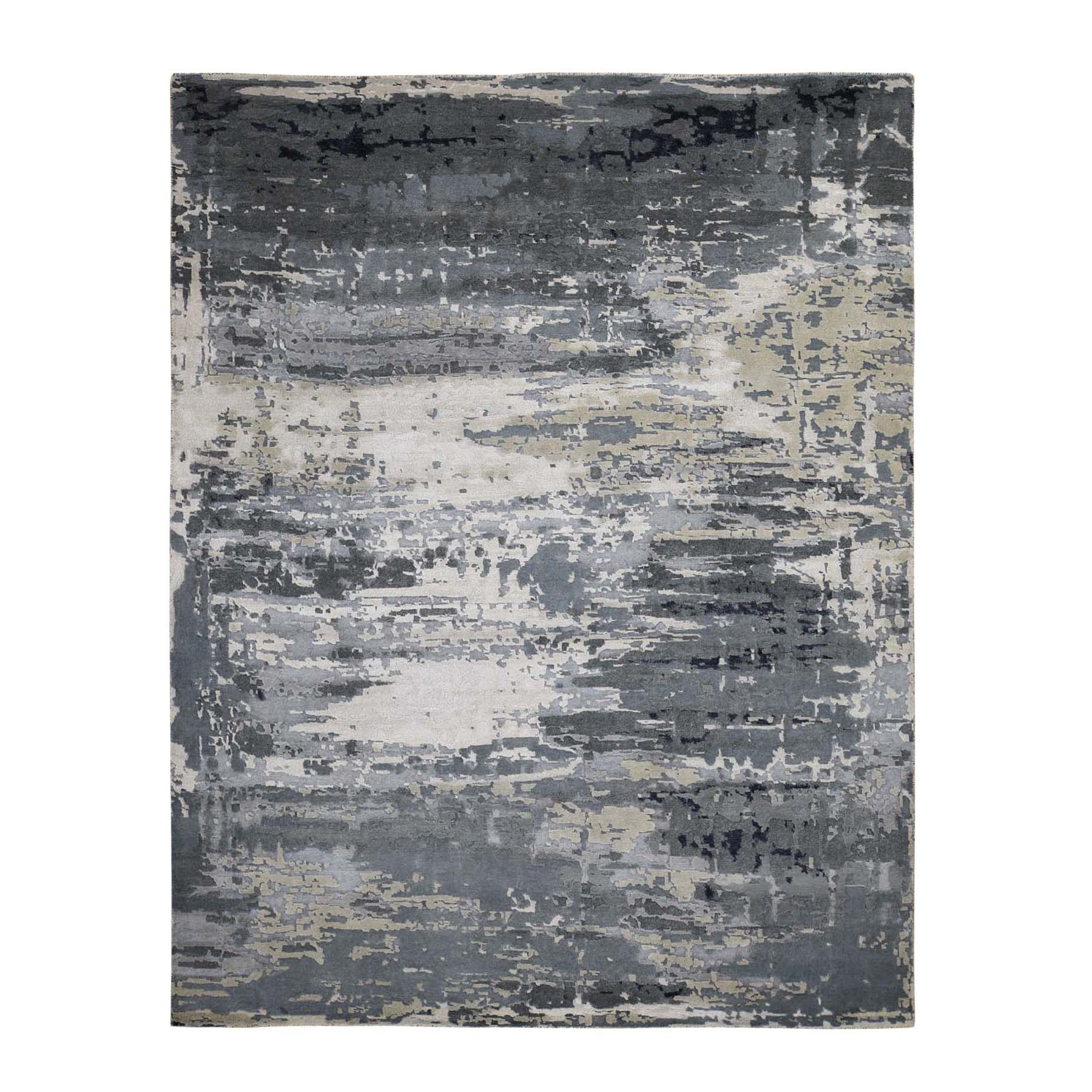 "8'1""X10' Hi-Low Pile Abstract Design Wool And Silk Hand-Knotted Oriental Rug moad88cd"