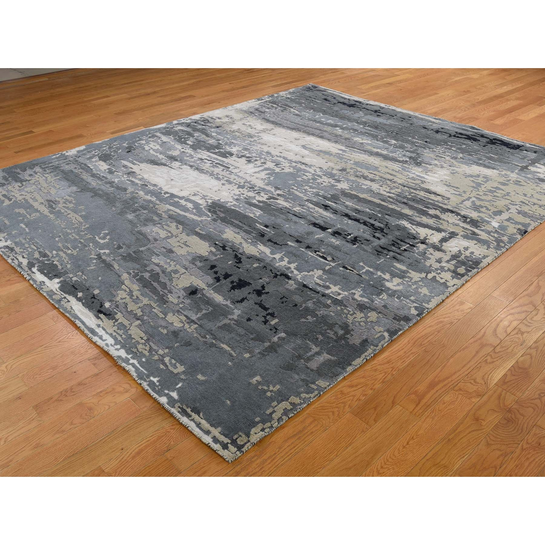 """8'1""""x10' Hi-Low Pile Abstract Design Wool And Silk Hand-Knotted Oriental Rug"""
