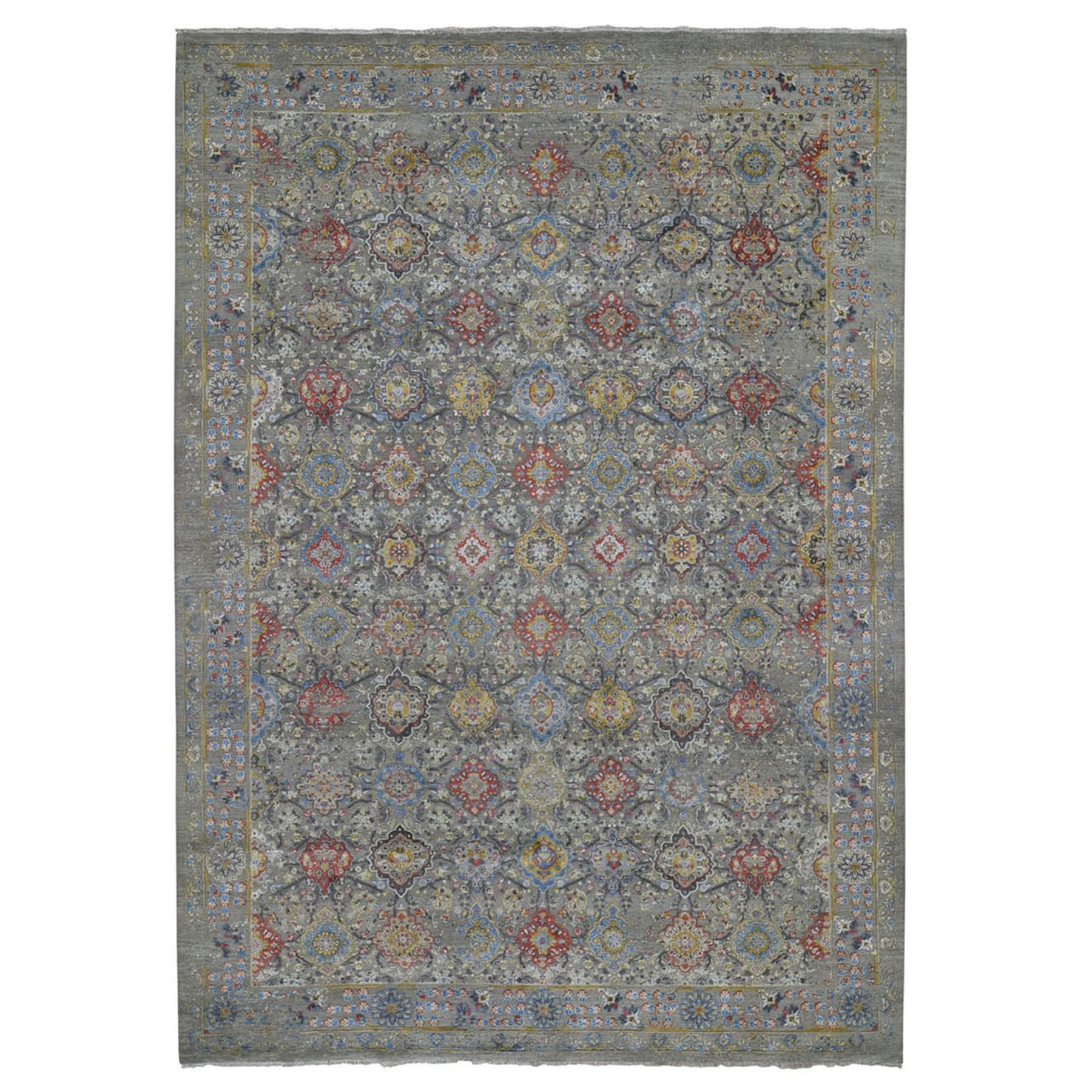 "9'1""X12' The Sunset Rosettes Pure Silk And Wool Hand Knotted Oriental Rug moad88ce"