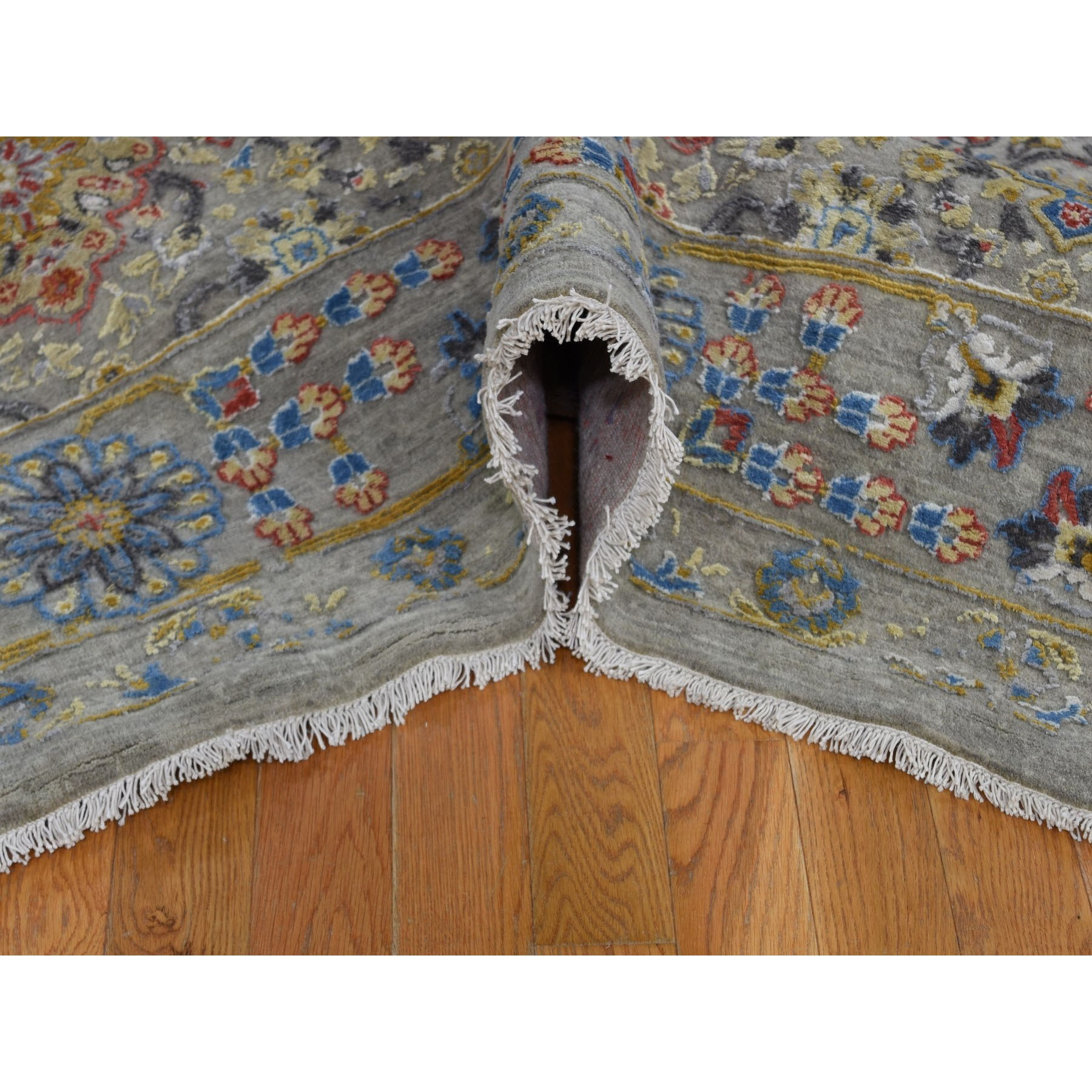 9-1 x12- THE SUNSET ROSETTES Pure Silk and Wool Hand Knotted Oriental Rug