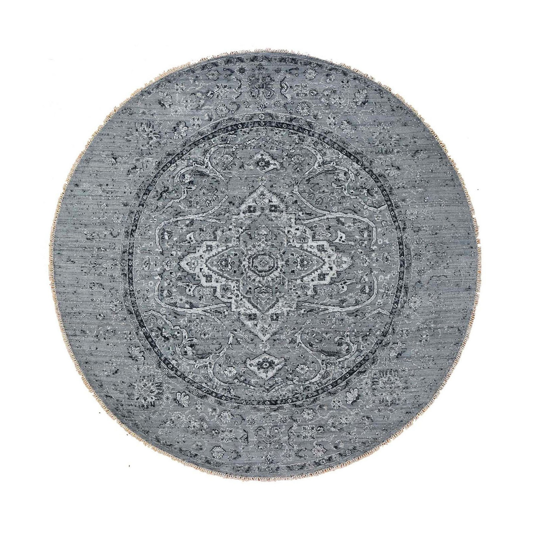 12'X12' Round Gray Broken Persian Erased Design Pure Silk With Textured Wool Hand Knotted Oriental Rug moad88c6