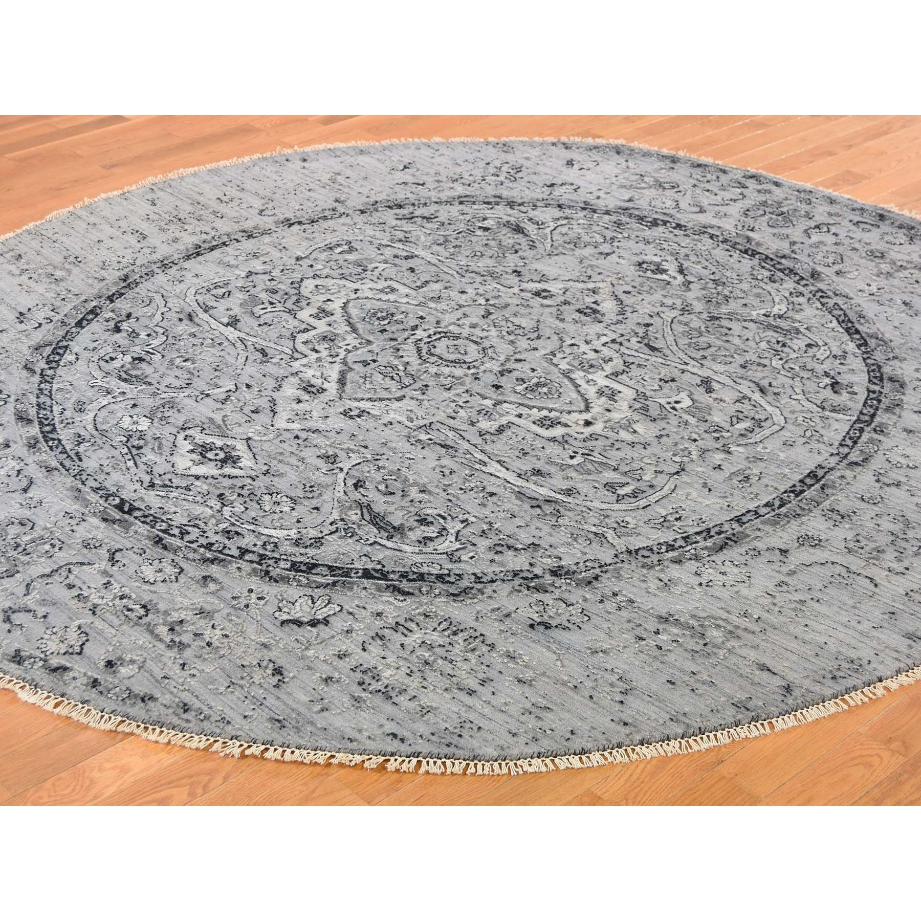 12'x12' Round Gray Broken Persian Erased Design Pure Silk With Textured Wool Hand Knotted Oriental Rug