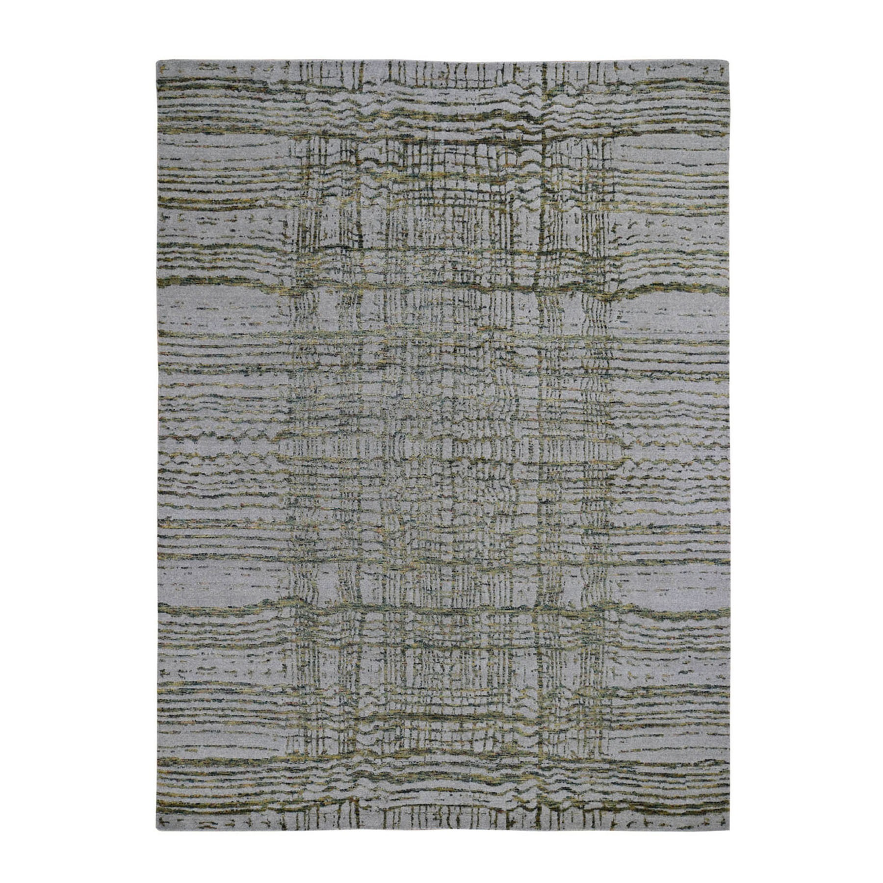 """8'X9'10"""" Gray Fine Jacquard Hand-Loomed Modern Wool And Silk Oriental Rug moad88c7"""