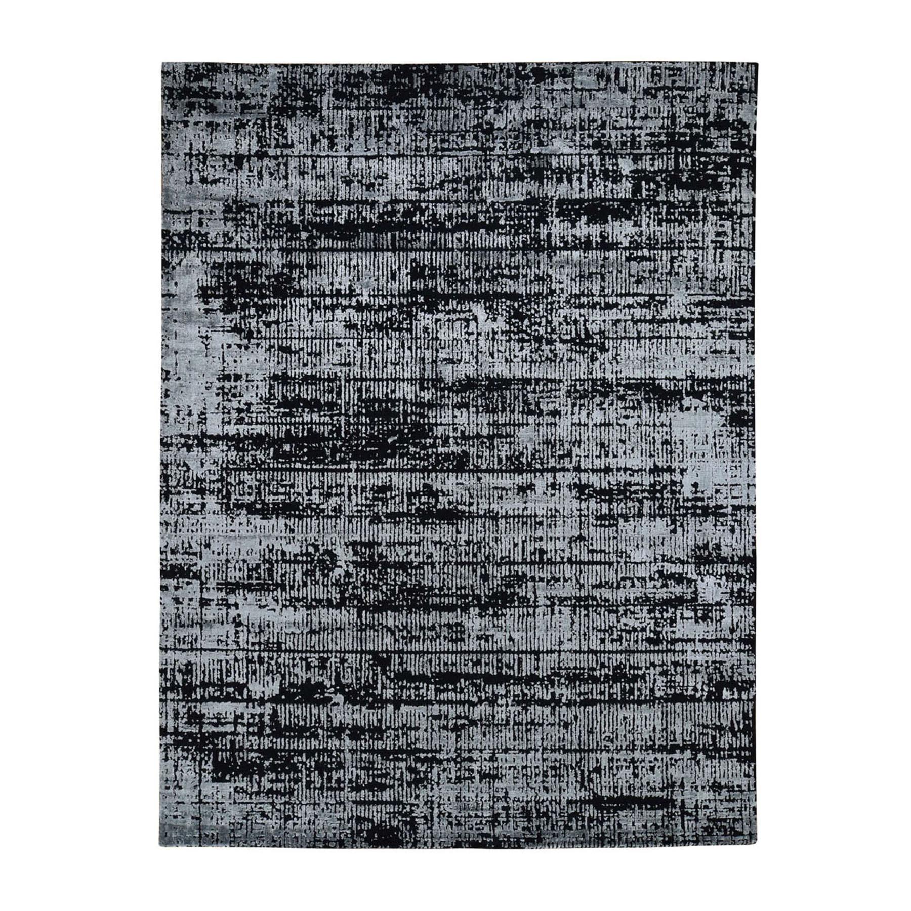 "7'10""X10'1"" Black Fine Jacquard Hand-Loomed Modern Wool And Silk Oriental Rug moad88da"