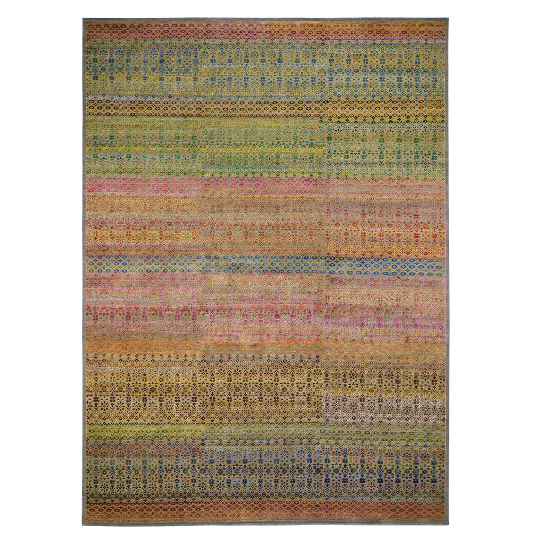 "9'8""x14' Colorful Grass Design Sari Silk Textured Wool Modern Hand Knotted Oriental Rug"