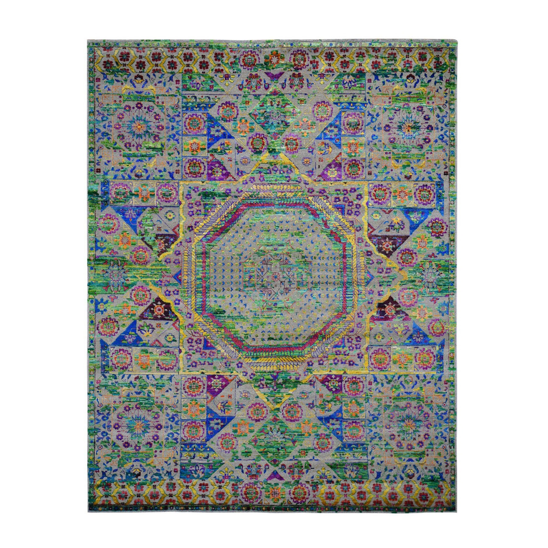 "8'1""X10'1"" Colorful Sari Silk Mamluk Design Hand Knotted Oriental Rug moad88de"