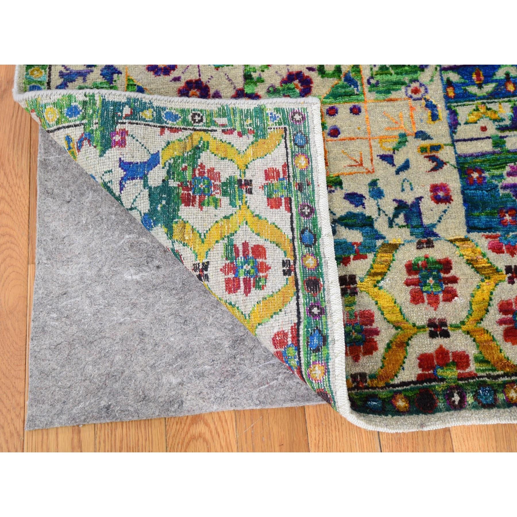 8-1 x10-1  Colorful Sari Silk Mamluk Design Hand Knotted Oriental Rug