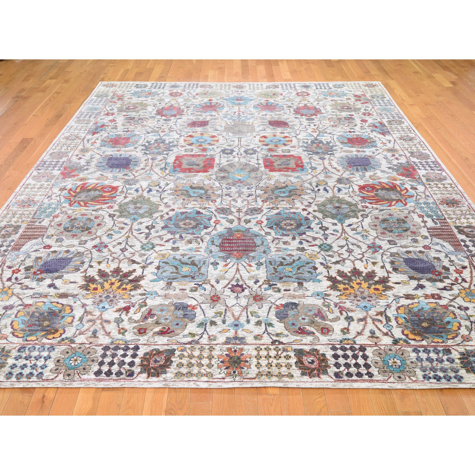 """9'1""""x12'2"""" Ivory Silk With Textured Wool Tabriz Hand Knotted Oriental Rug"""