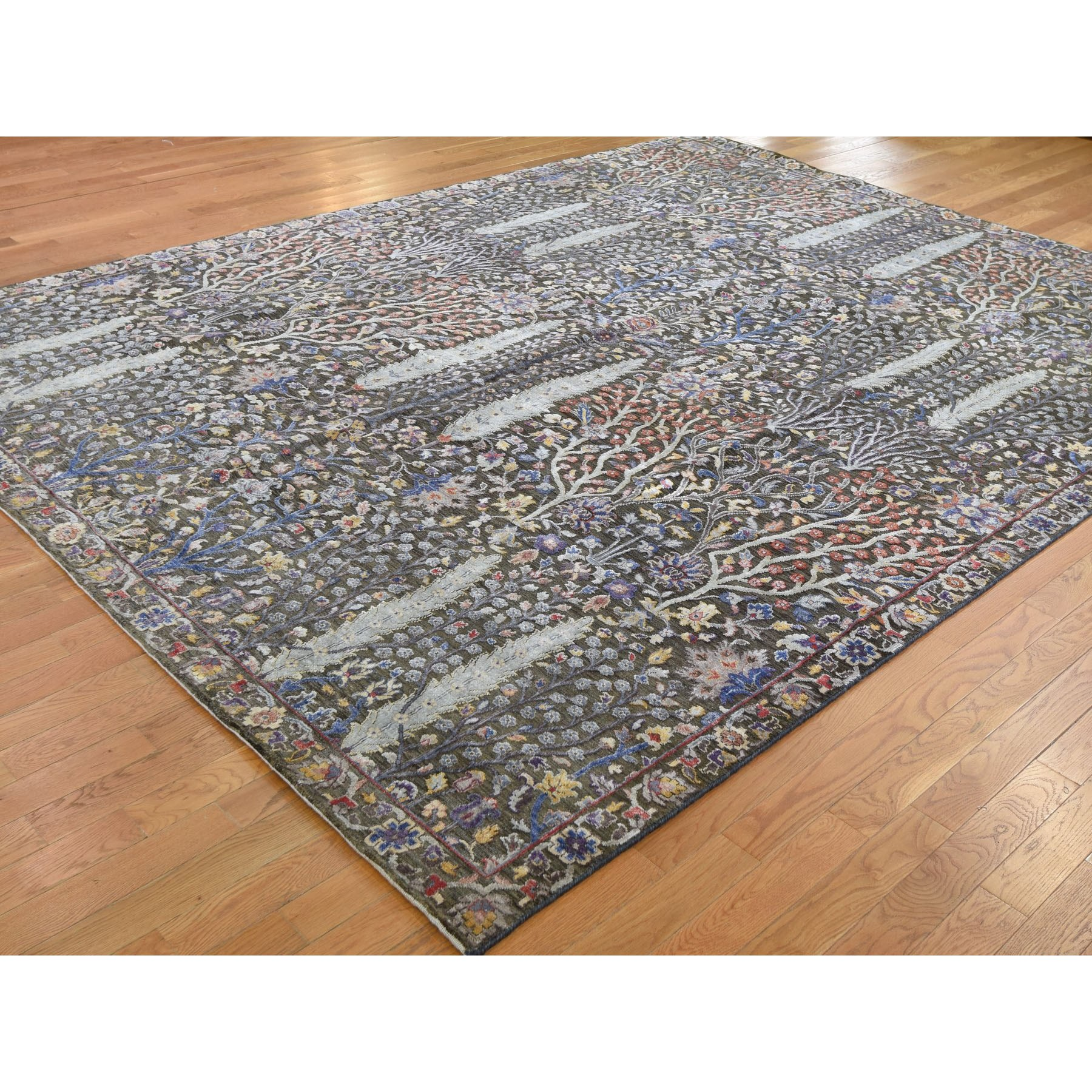 9'1x12' Willow And Cypress Tree Design Silk With Textured Wool Hand Knotted Oriental Rug
