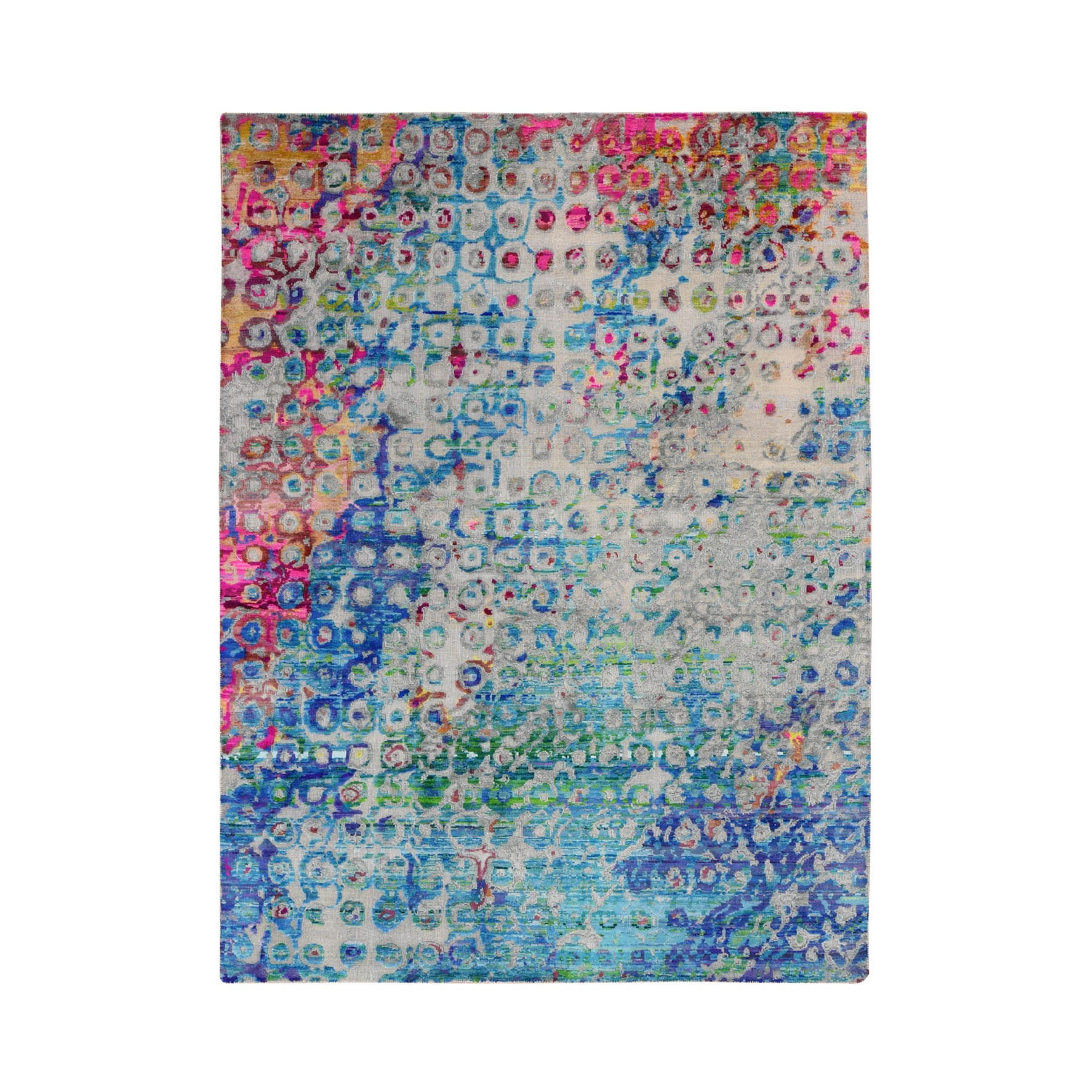 """5'1""""X7' The Peacock, Sari Silk Colorful Hand Knotted Oriental Rug moad88ea"""