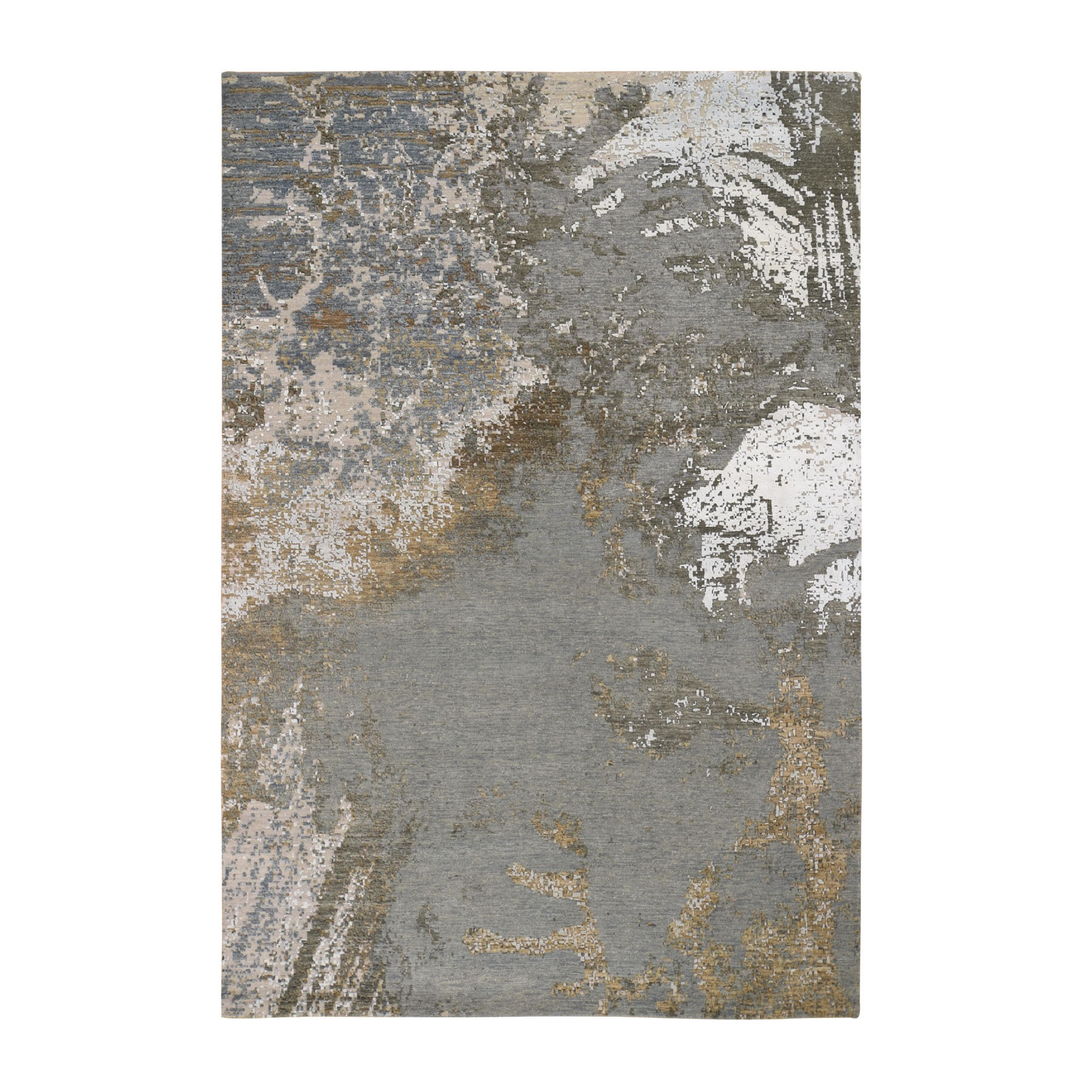 "6'1""x9'1"" Gray Abstract Design Wool and Silk Hi-Low Pile Denser Weave Hand Knotted Oriental Rug"