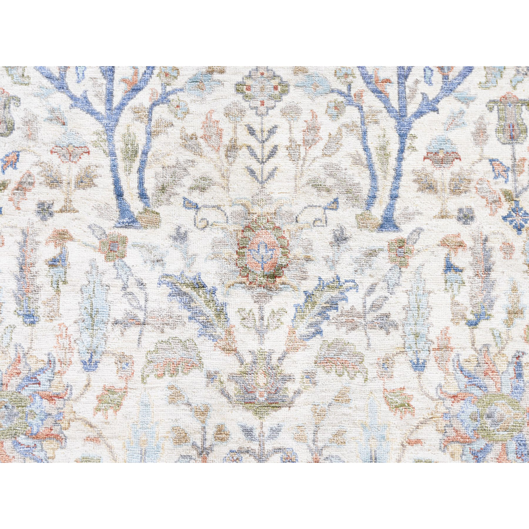 """8'10""""x12'3"""" Willow And Cypress Tree Design Silk With Textured Wool Hand Knotted Oriental Rug"""