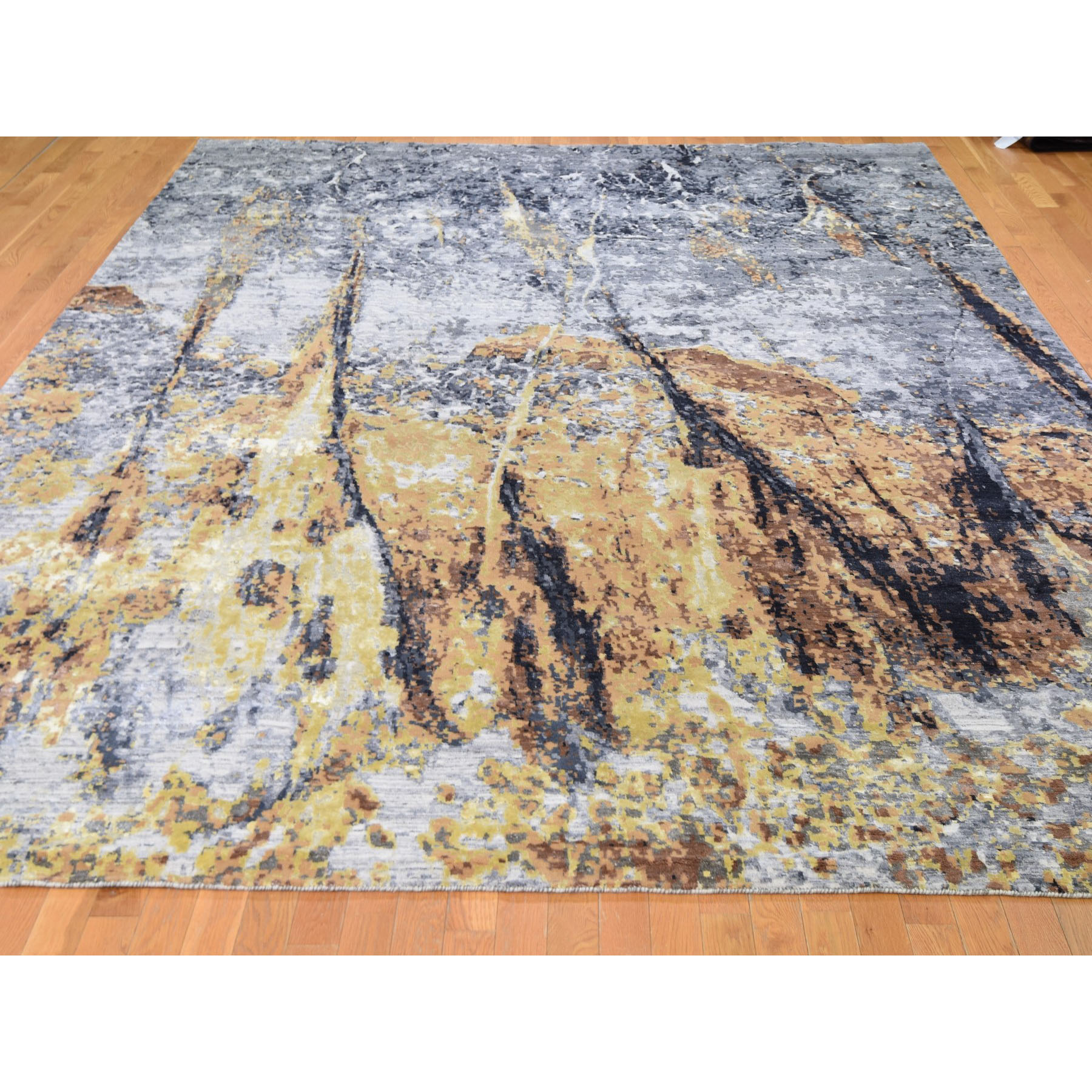 10'x14' Gold Abstract Design Wool And Silk hand Knotted Oriental Rug