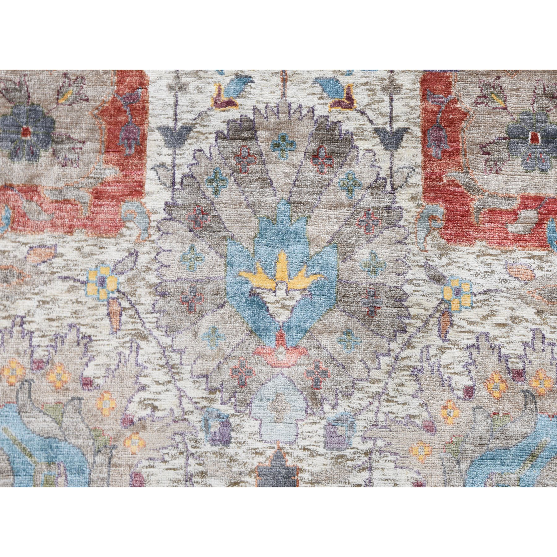 """10'x14'1"""" Ivory Silk With Textured Wool Tabriz Hand Knotted Oriental Rug"""