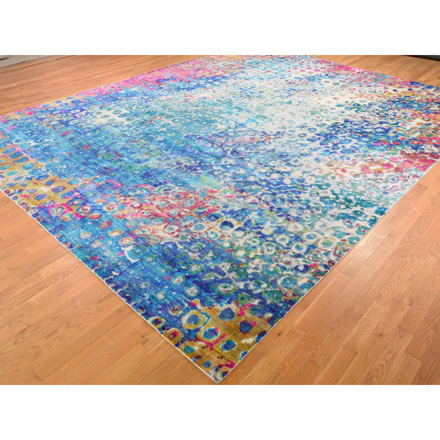 "11'10""x15' THE PEACOCK, Oversized Sari Silk Colorful Hand Knotted Oriental Rug"