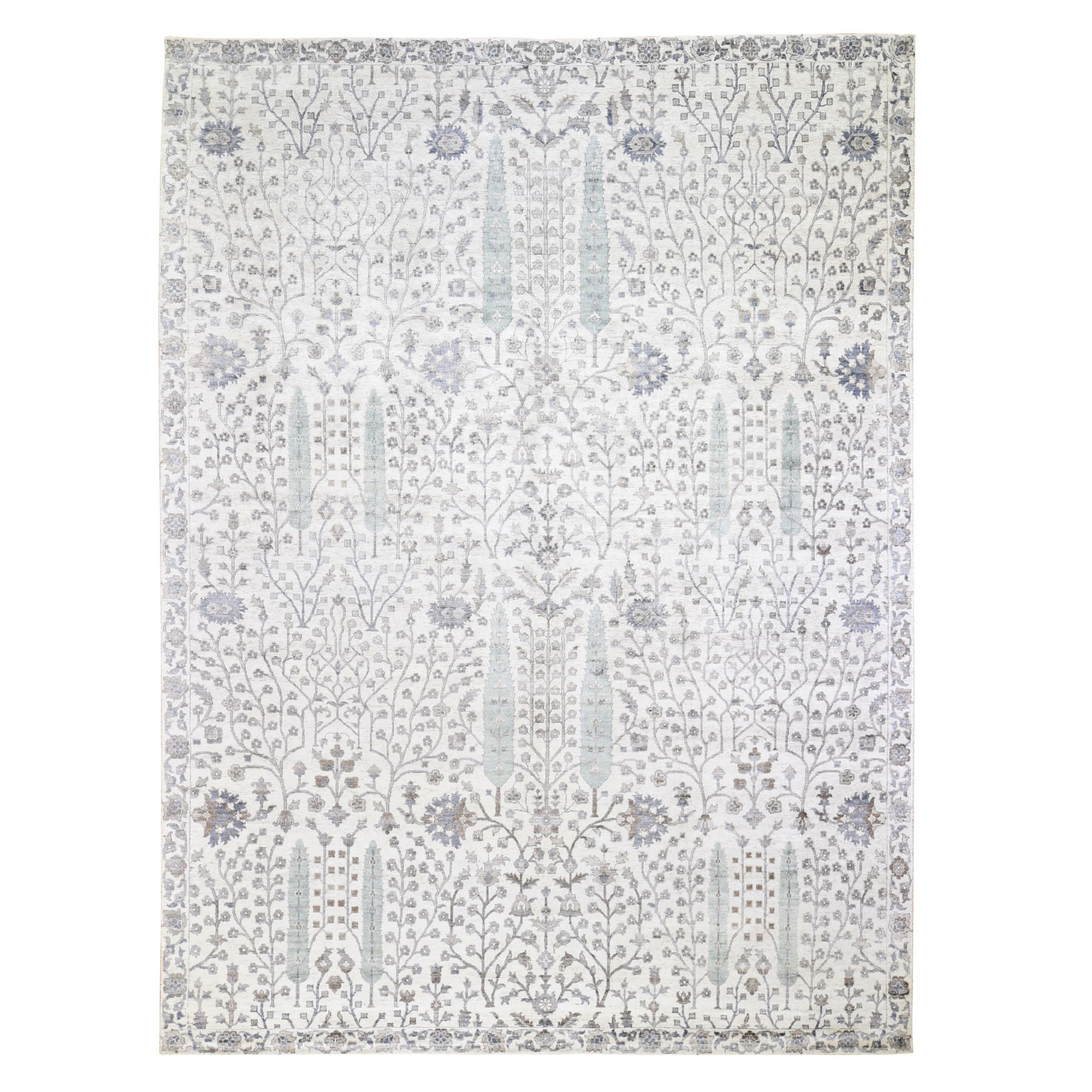 "9'1""X12' Willow And Cypress Tree Design Silk With Textured Wool Hand Knotted Oriental Rug moad8860"
