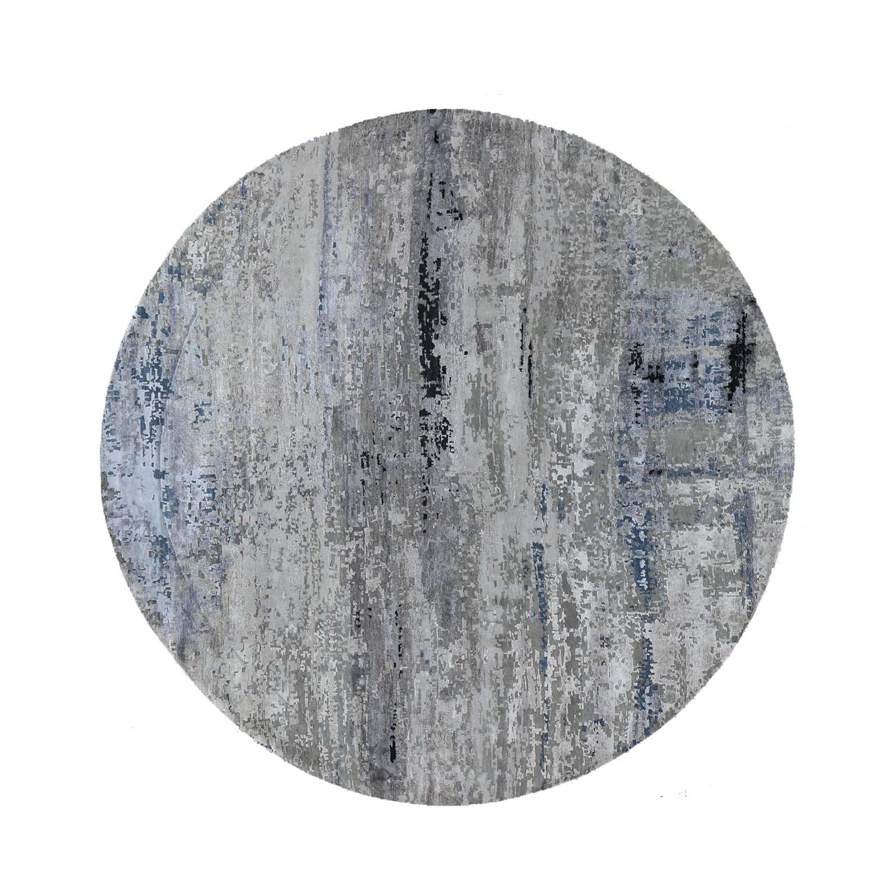 "9'10""X9'10"" Gray Hi Low Pile Abstract Design Round Wool And Silk Hand Knotted Oriental Rug moad886e"