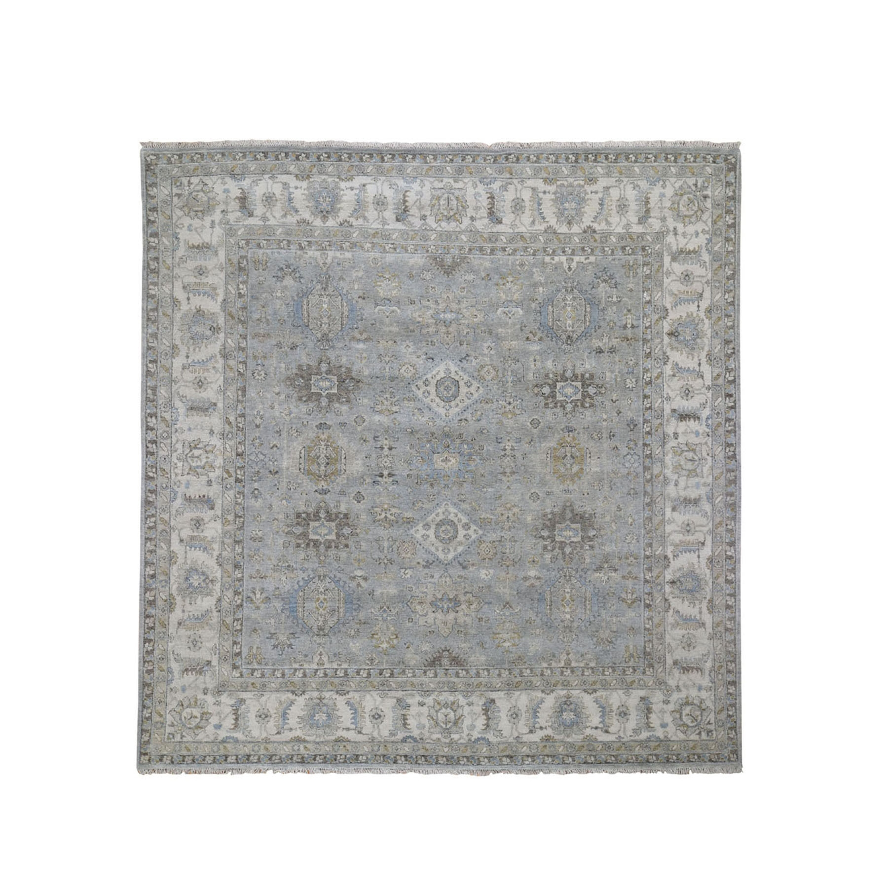 8'X8' Gray Square Karajeh Design Pure Wool Gray Hand Knotted Oriental Rug moad8866