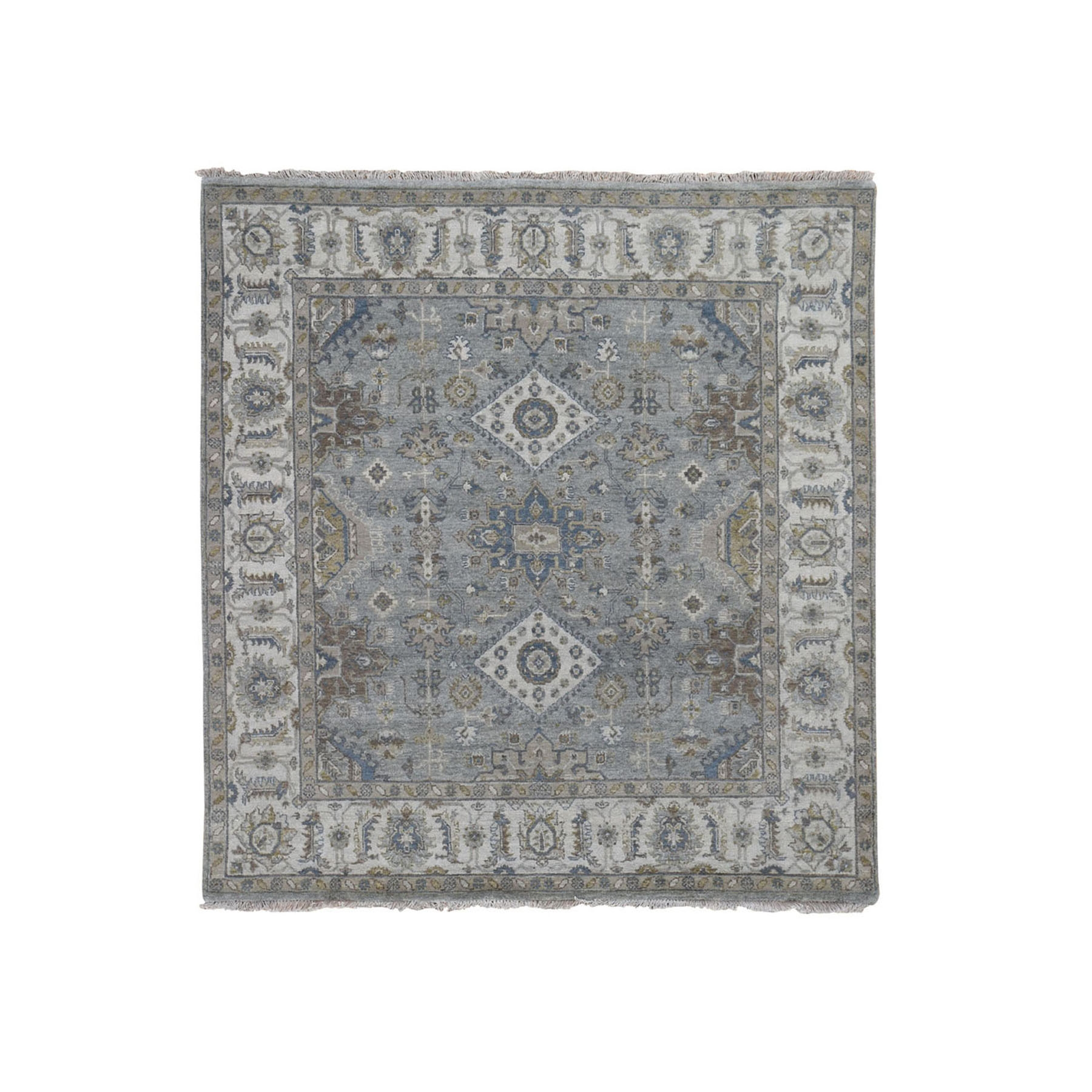 "5'1""X5'1"" Square Gray Karajeh Design Pure Wool Hand Knotted Oriental Rug moad8867"