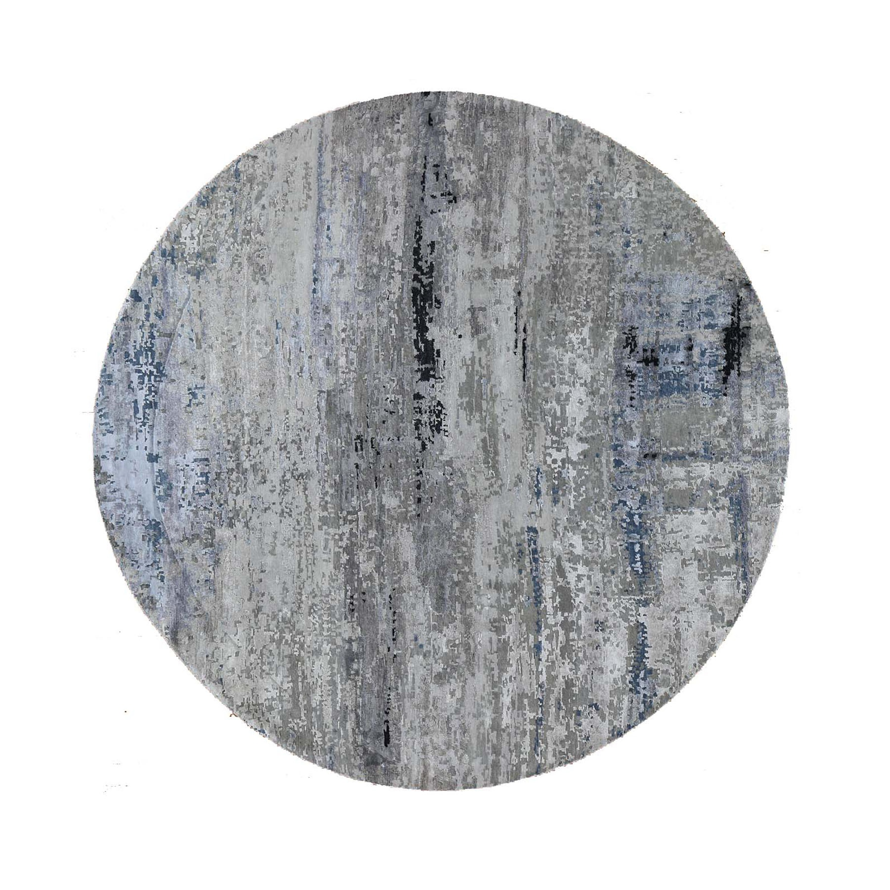 "8'10""X8'10"" Gray Hi Low Pile Abstract Design Round Wool And Silk Hand Knotted Oriental Rug moad8870"