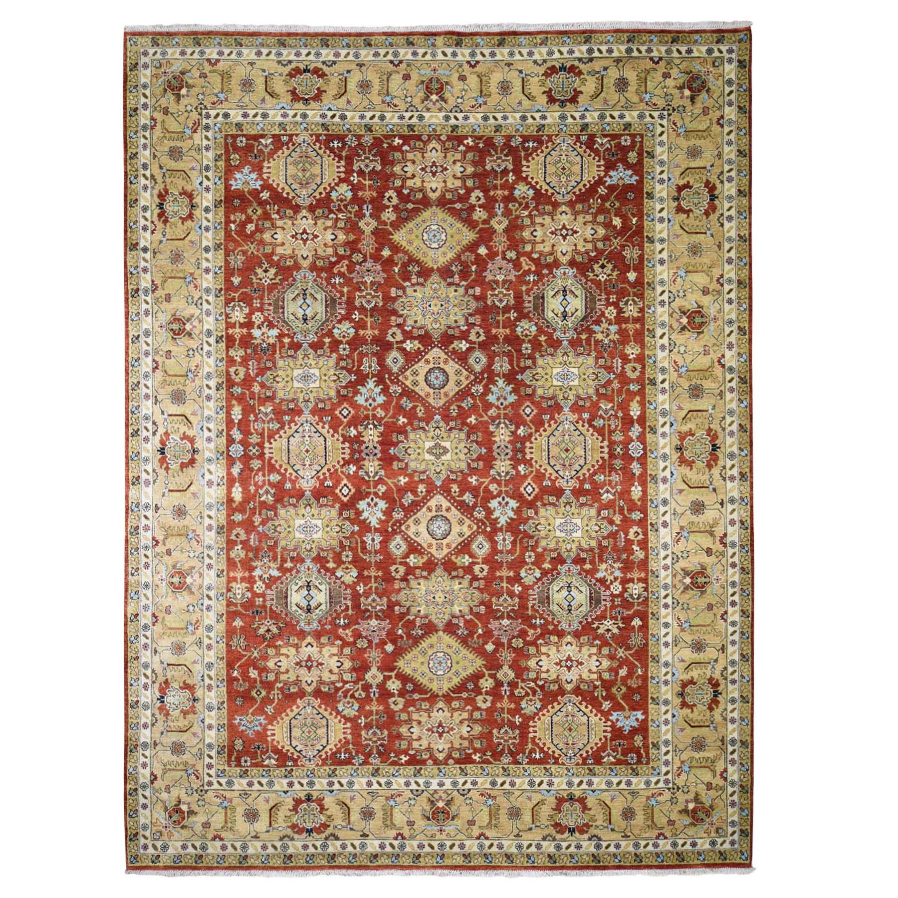 "9'X12'1"" Red Karajeh Design Pure Wool Hand Knotted Oriental Rug moad887a"