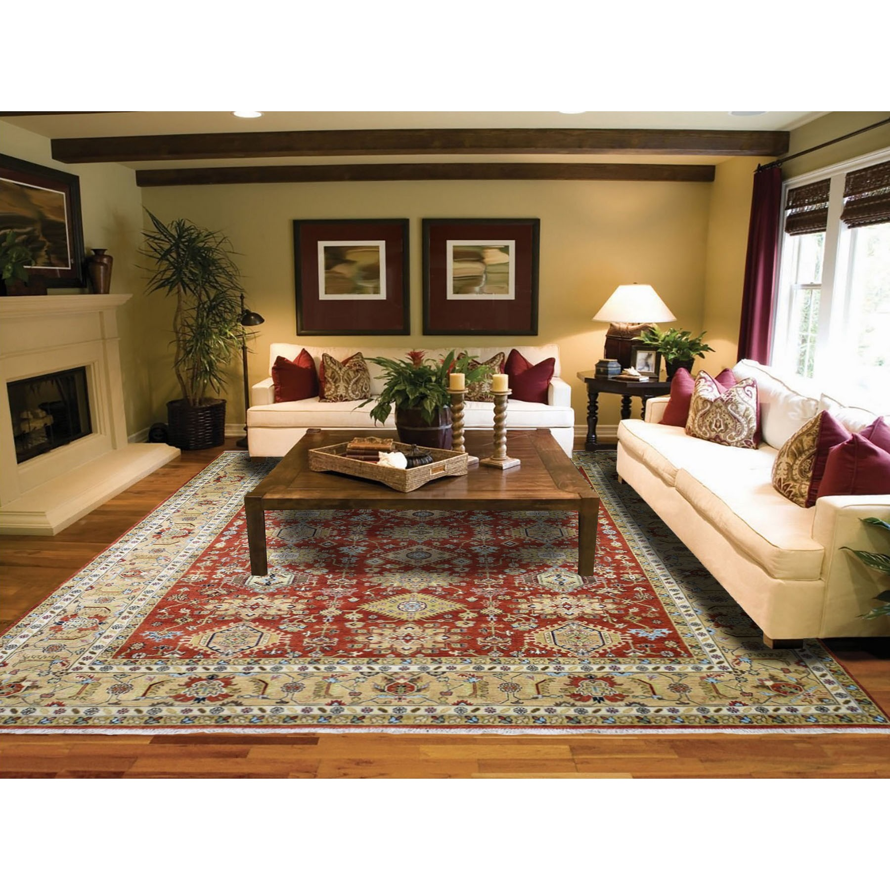 9-x12-1  Red Karajeh Design Pure Wool Hand Knotted Oriental Rug