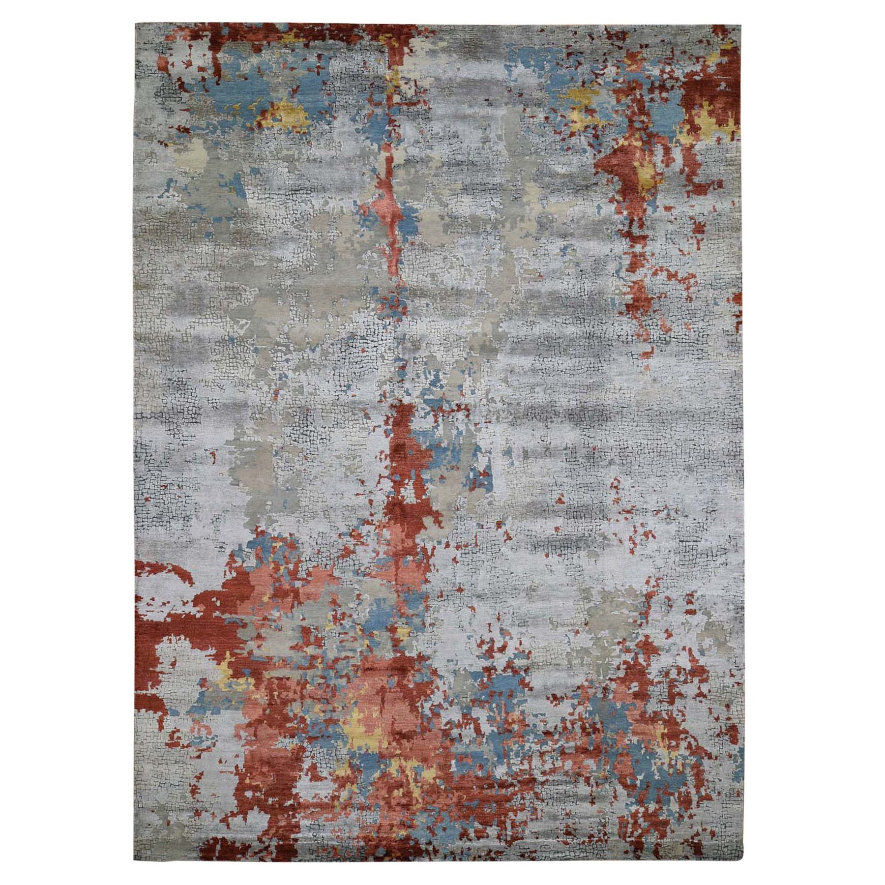 "9'10""X13'10"" Wool And Silk Abstract With Fire Mosaic Design Hand Knotted Oriental Rug moad887b"