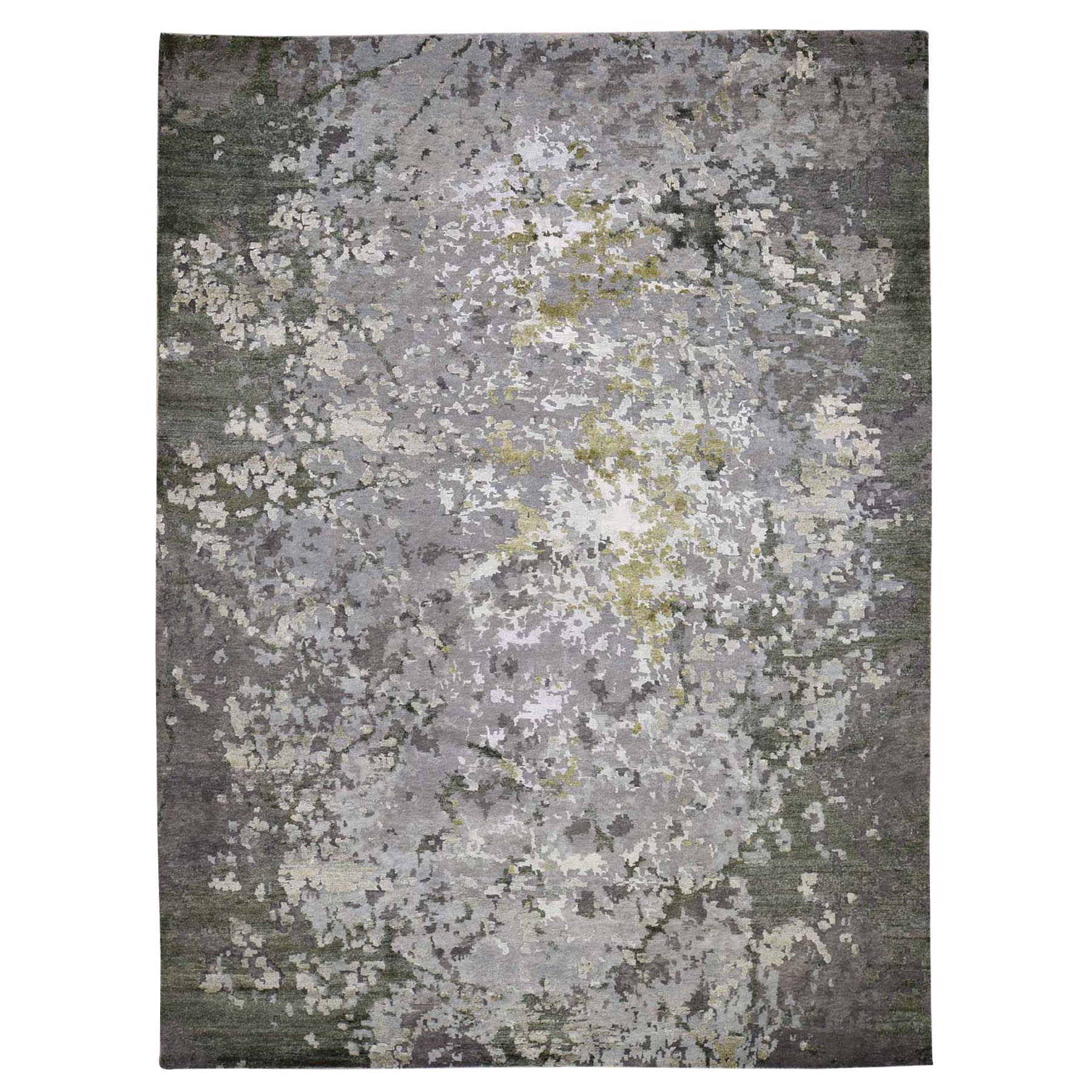 "9'1""X11'9"" Green Hi-Lo Pile Abstract Design Wool And Silk Hand Knotted Rug moad887c"